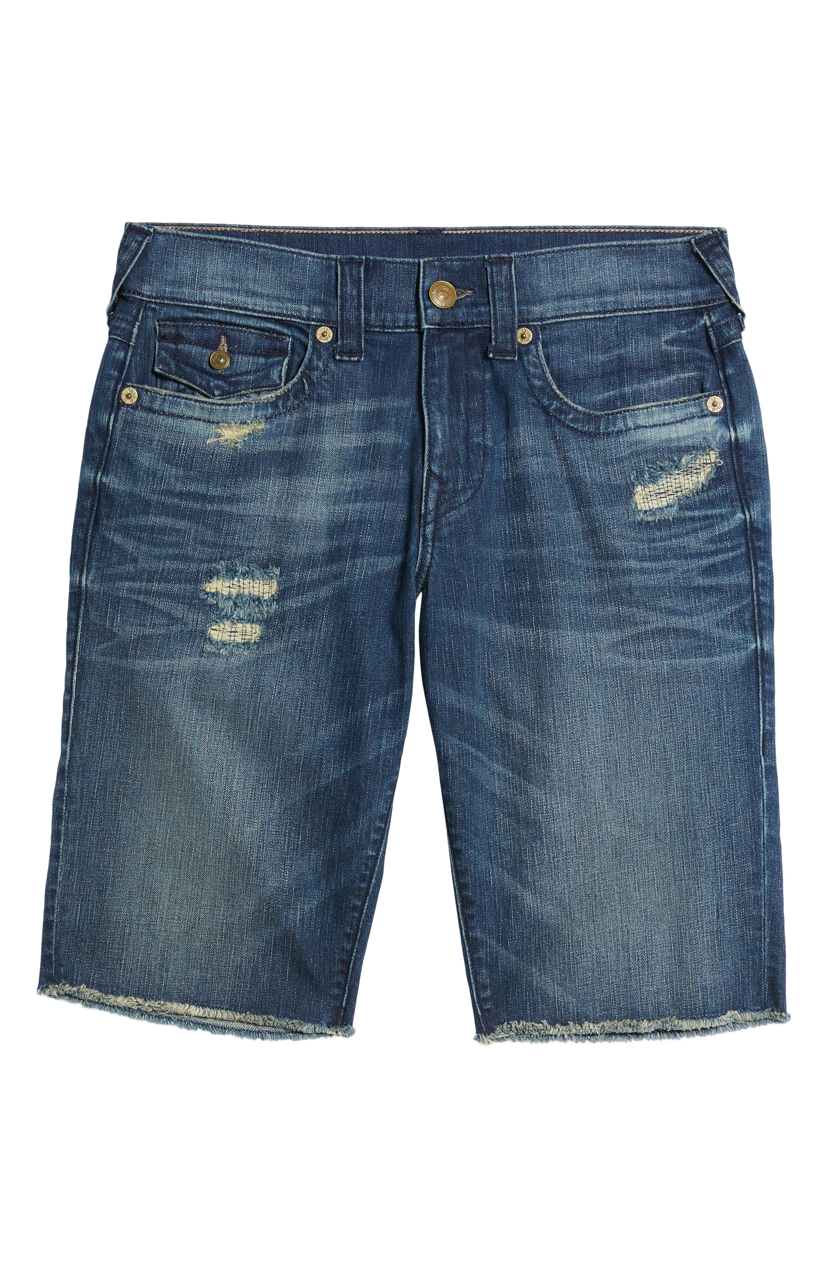 True Religion Brands Jeans Ricky Relaxed Fit Shorts,                             Alternate thumbnail 6, color,                             WORN AZUL
