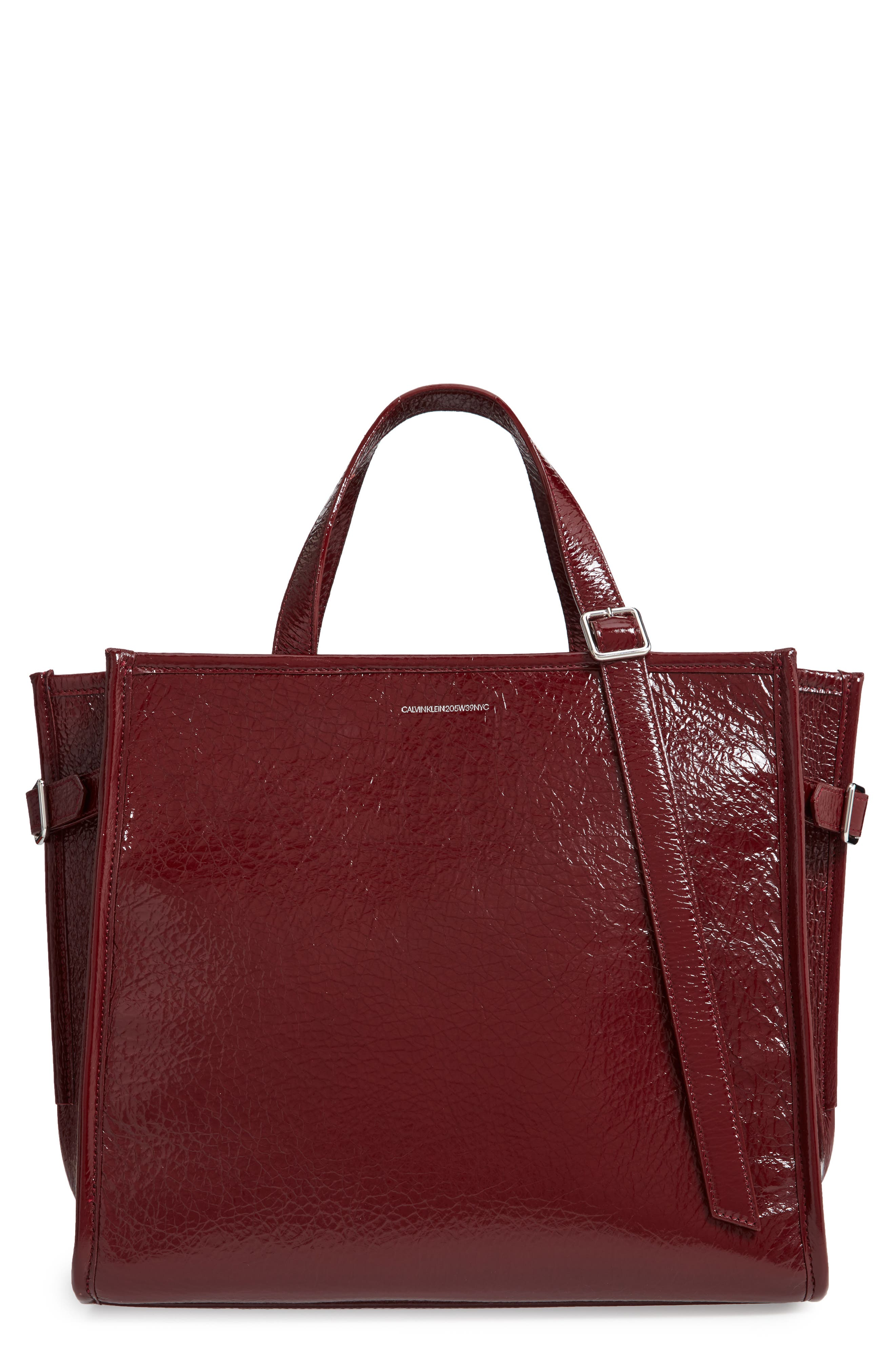 CALVIN KLEIN 209W39NYC East/West Leather Tote,                             Main thumbnail 1, color,                             DARK BURGUNDY