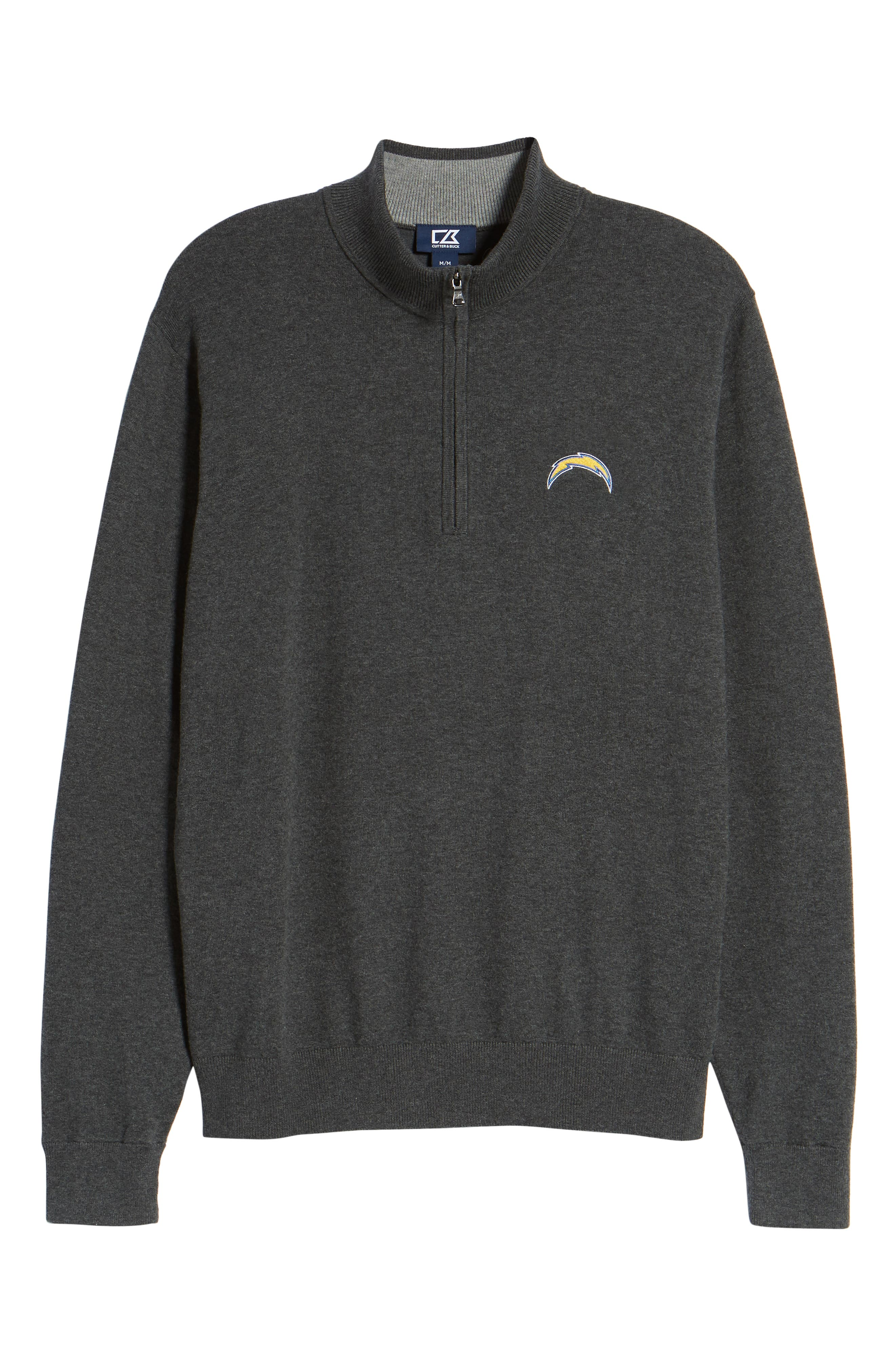 Los Angeles Chargers - Lakemont Regular Fit Quarter Zip Sweater,                             Alternate thumbnail 6, color,                             CHARCOAL HEATHER