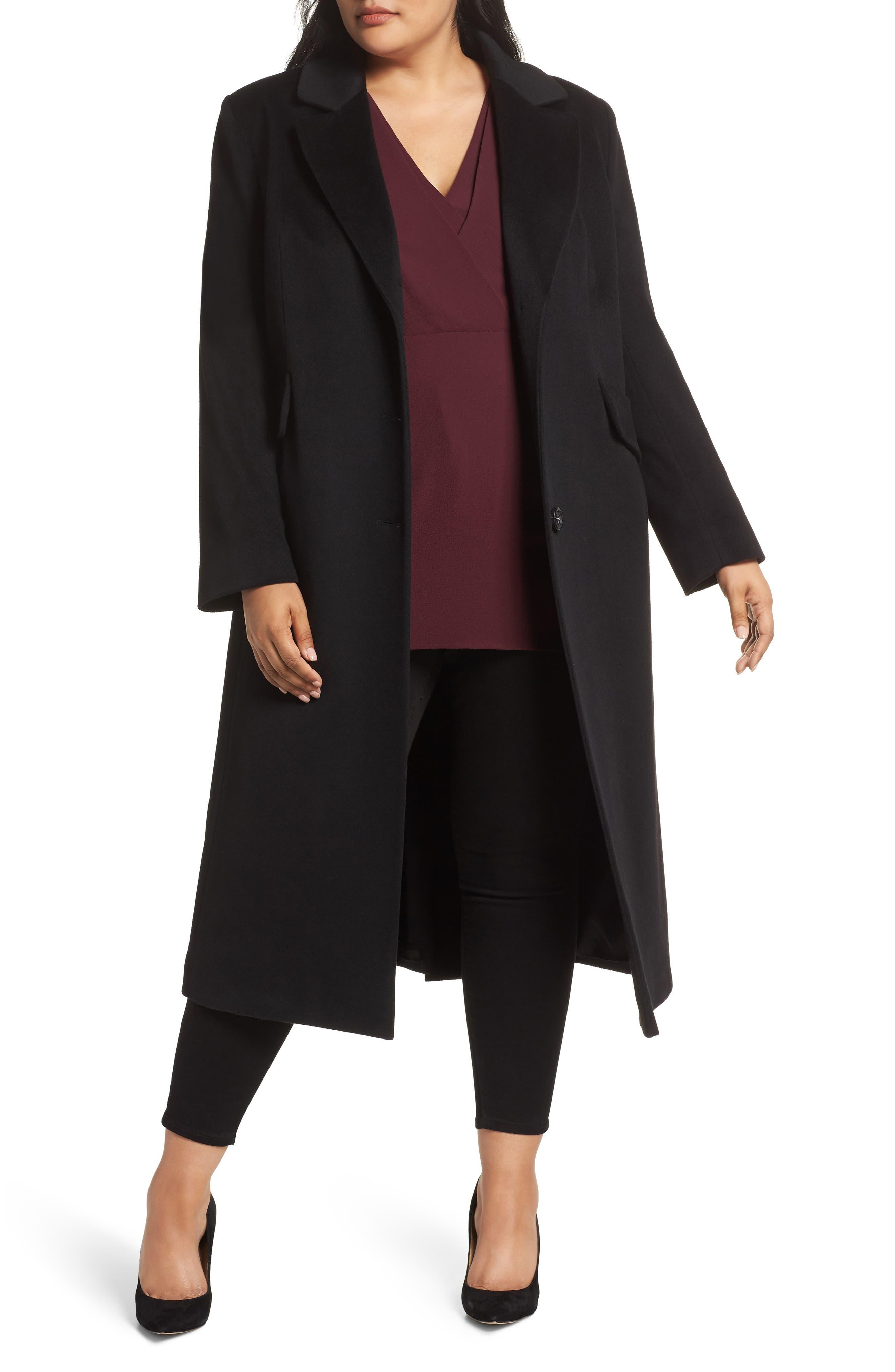 FLEURETTE,                             Maxi Reefer Wool Coat,                             Main thumbnail 1, color,                             BLACK