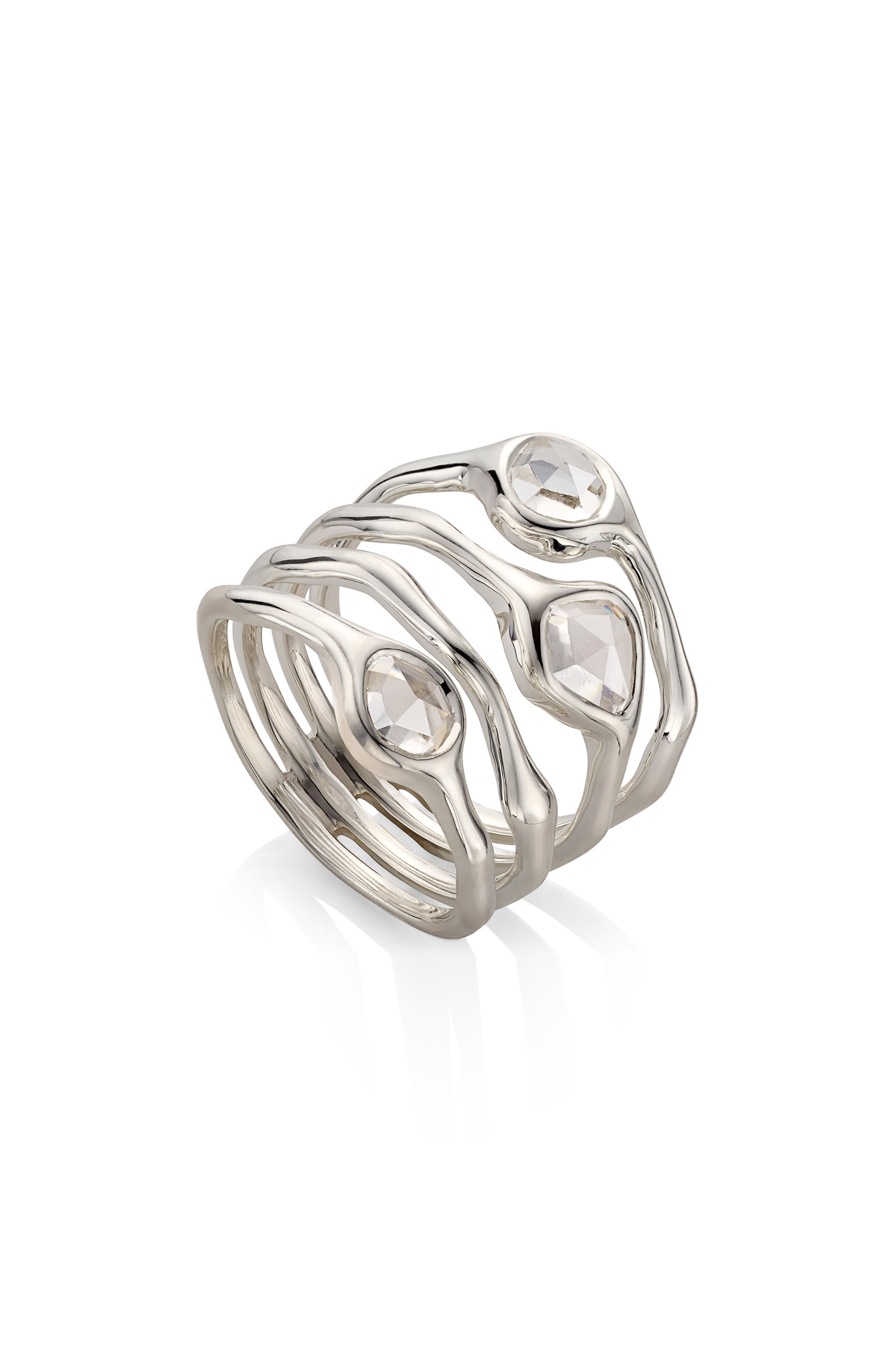 Siren Cluster Cocktail Ring,                             Main thumbnail 1, color,                             SILVER/ ROCK CRYSTAL