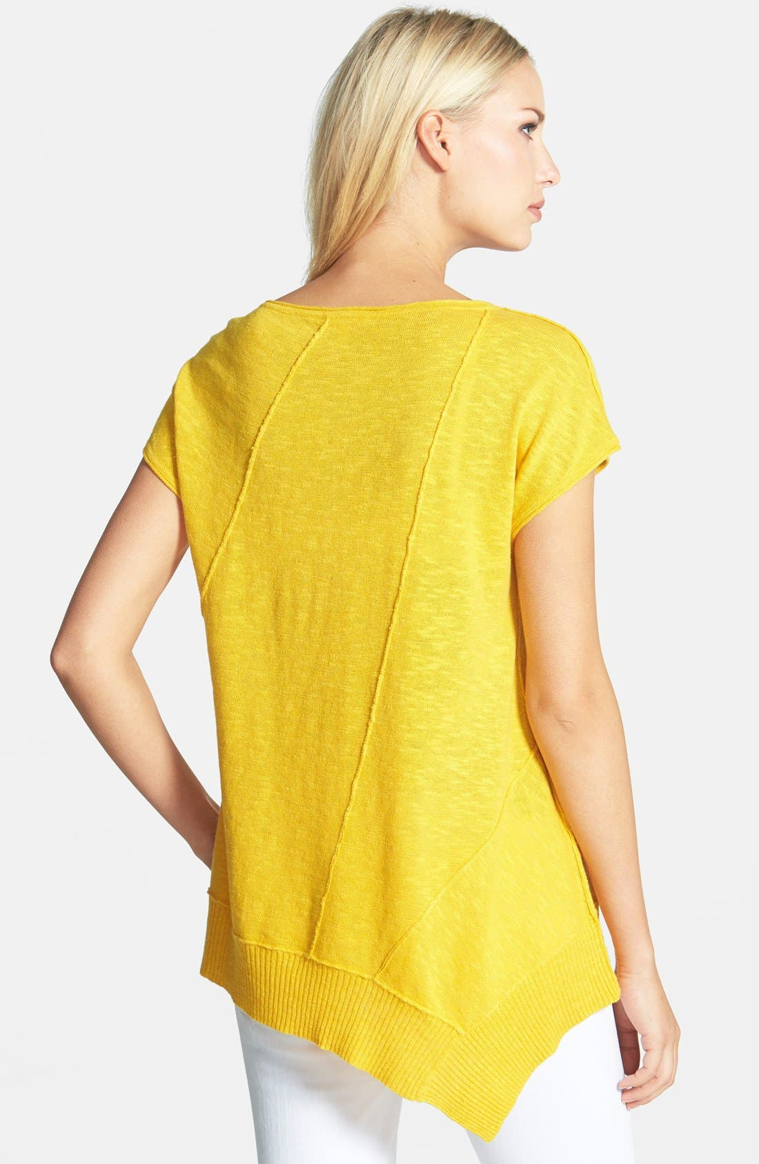 Cap Sleeve Organic Linen & Cotton Scoop Neck Top,                             Alternate thumbnail 54, color,