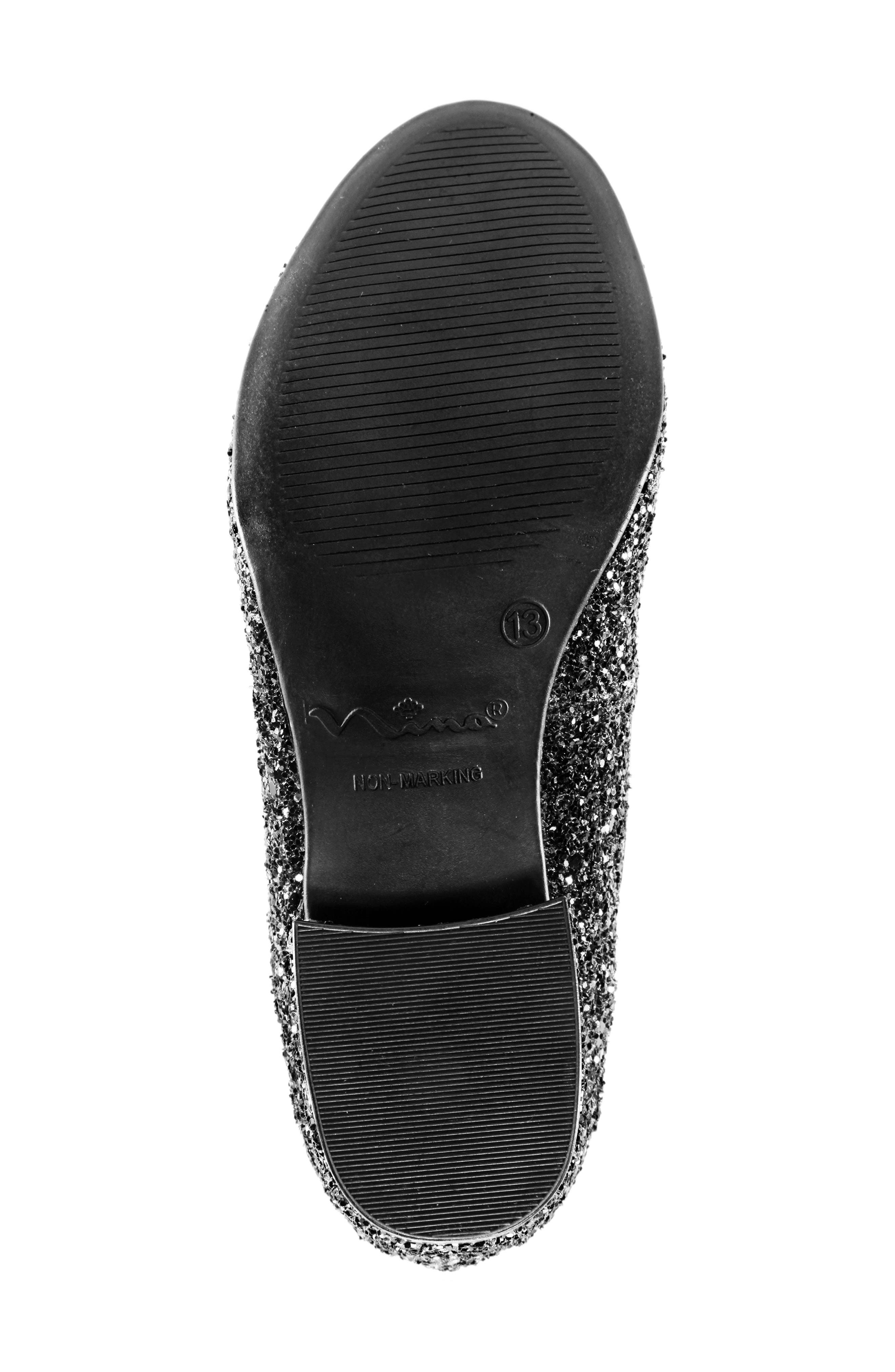 Deisy Glitter Block Heel Pump,                             Alternate thumbnail 6, color,                             BLACK CHUNK GLITTER/ PATENT