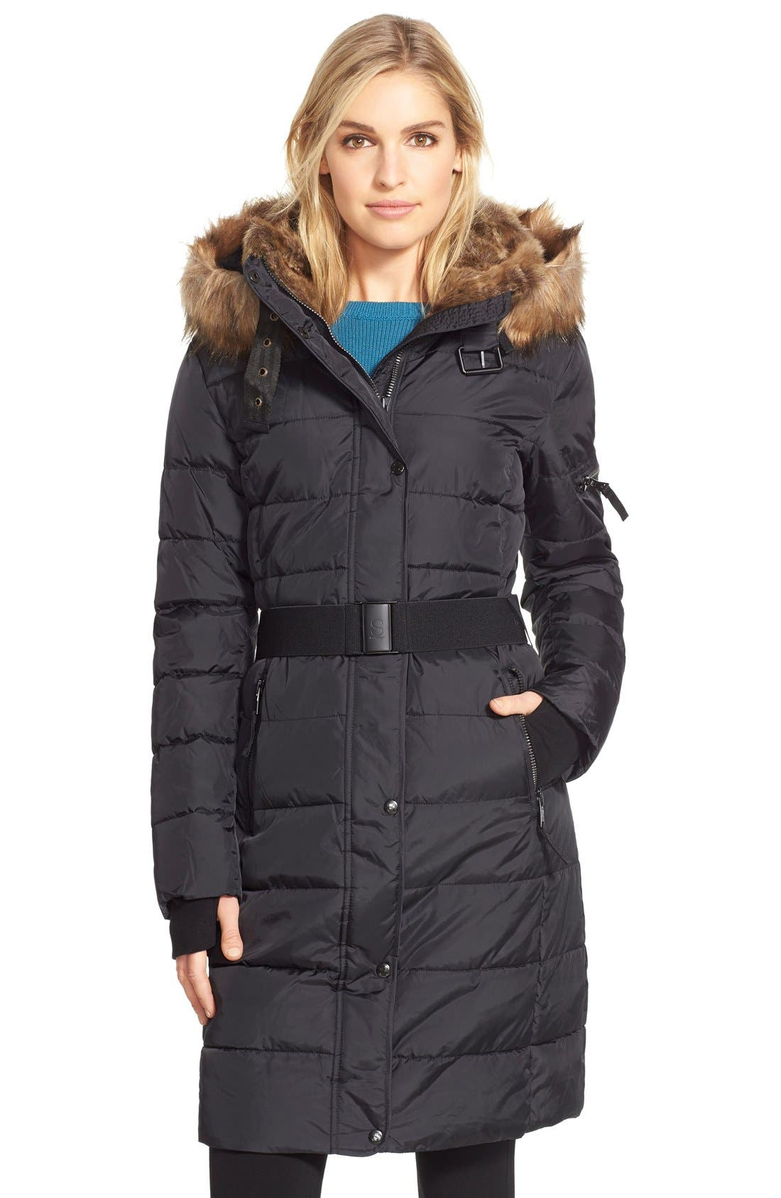 NYC 'Lexington' Faux Fur Trim Belted Hooded Long Quilted Coat, Main, color, 001