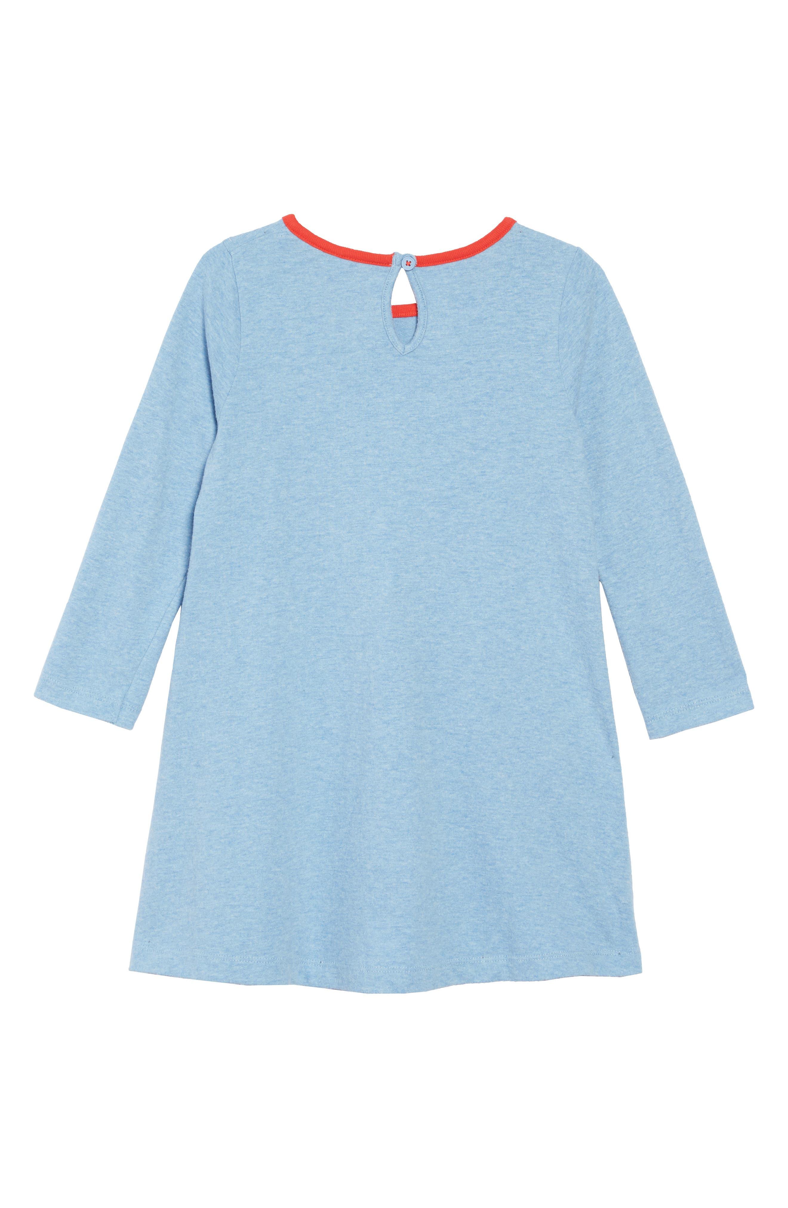 Patchwork Appliqué Dress,                             Alternate thumbnail 2, color,                             BLUE MARL LLAMAS