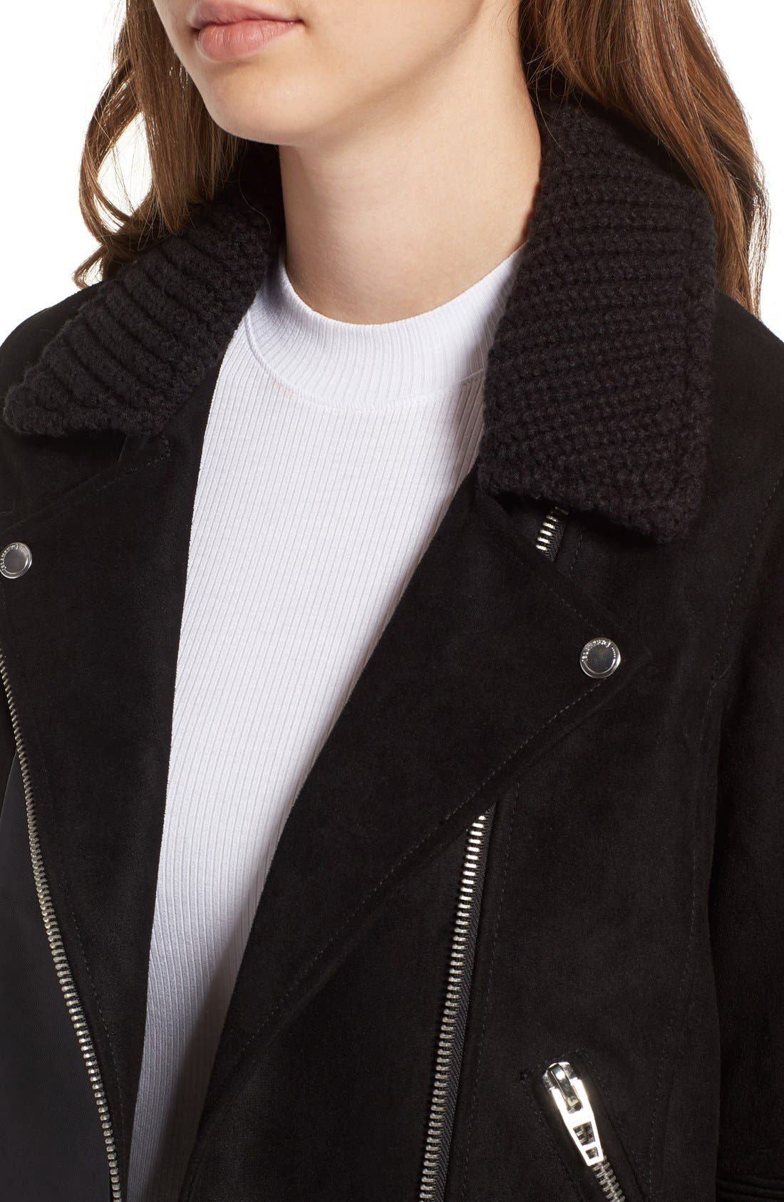 BLANKNYC,                             Faux Suede & Knit Moto Jacket,                             Alternate thumbnail 3, color,                             001