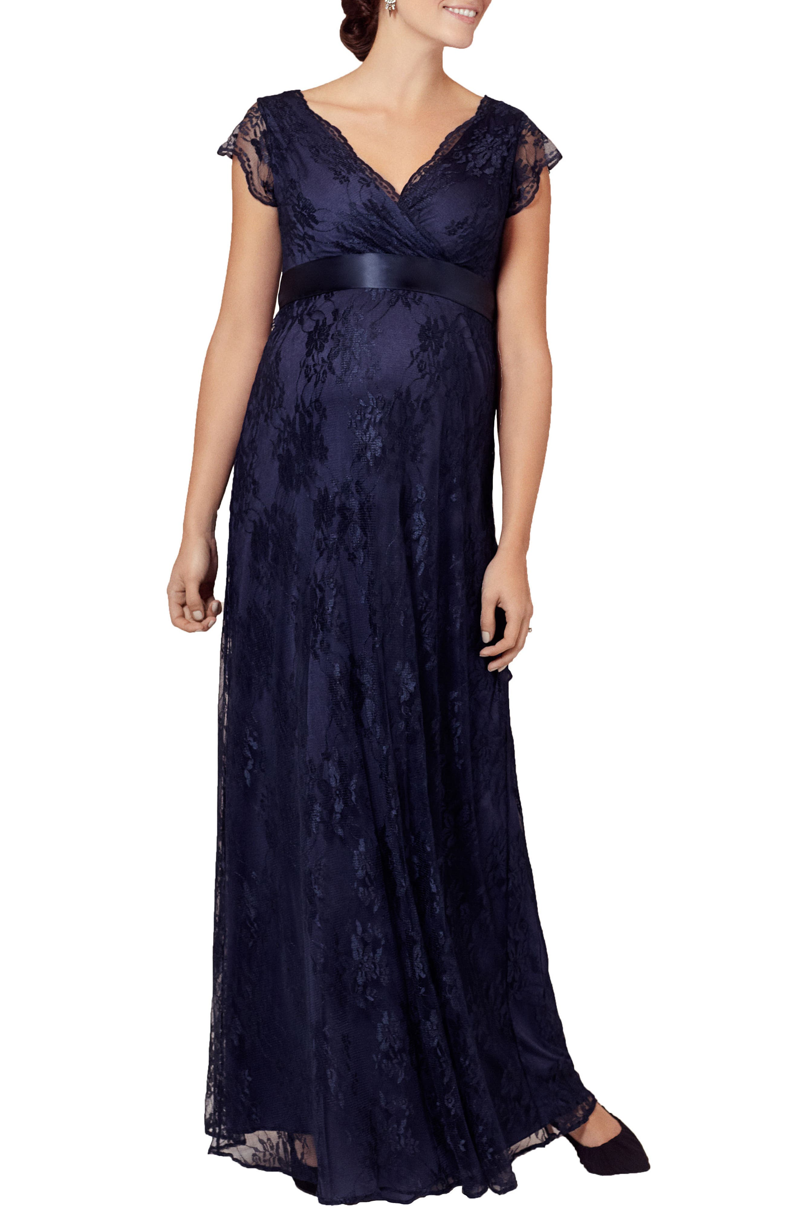 Maternity Eden Long Floral-Lace Gown With Satin Sash in Arabian Nights