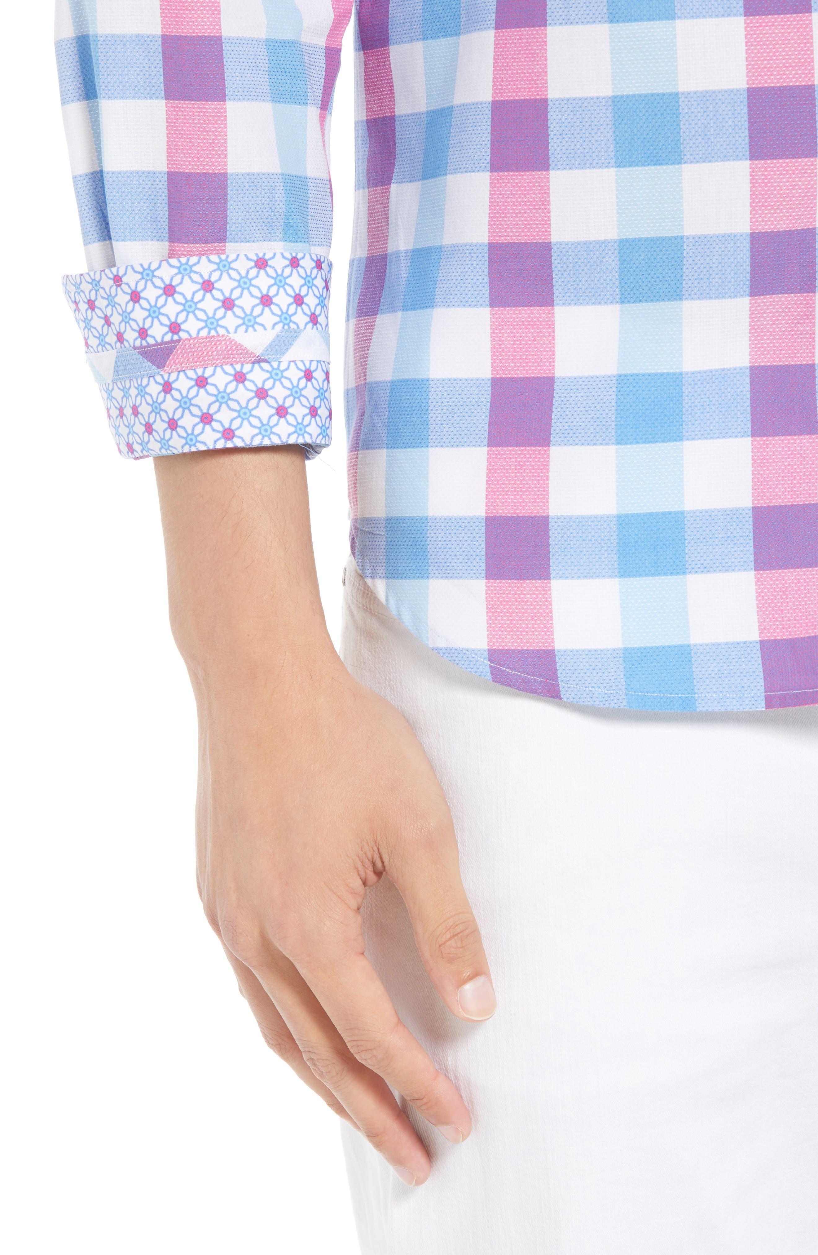 Bazel Regular Fit Check Sport Shirt,                             Alternate thumbnail 4, color,                             450
