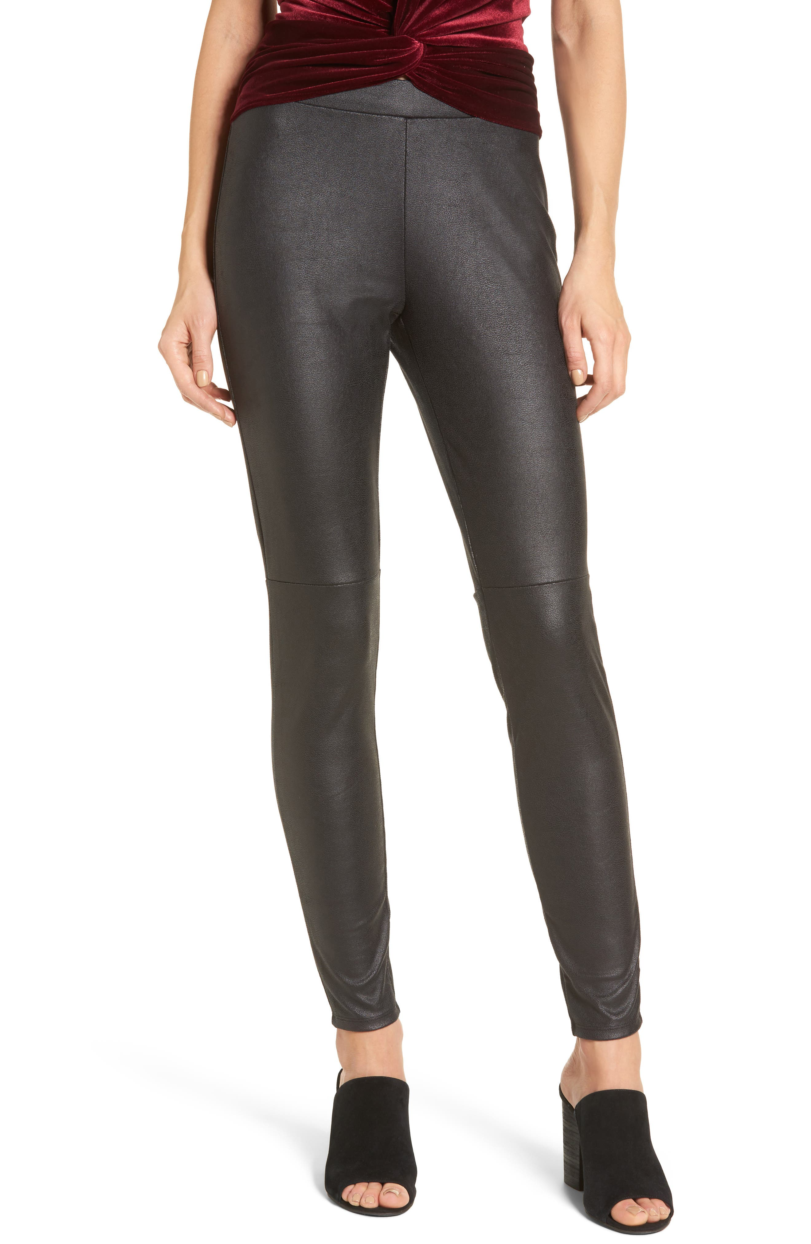 Faux Leather Leggings,                             Main thumbnail 1, color,                             001