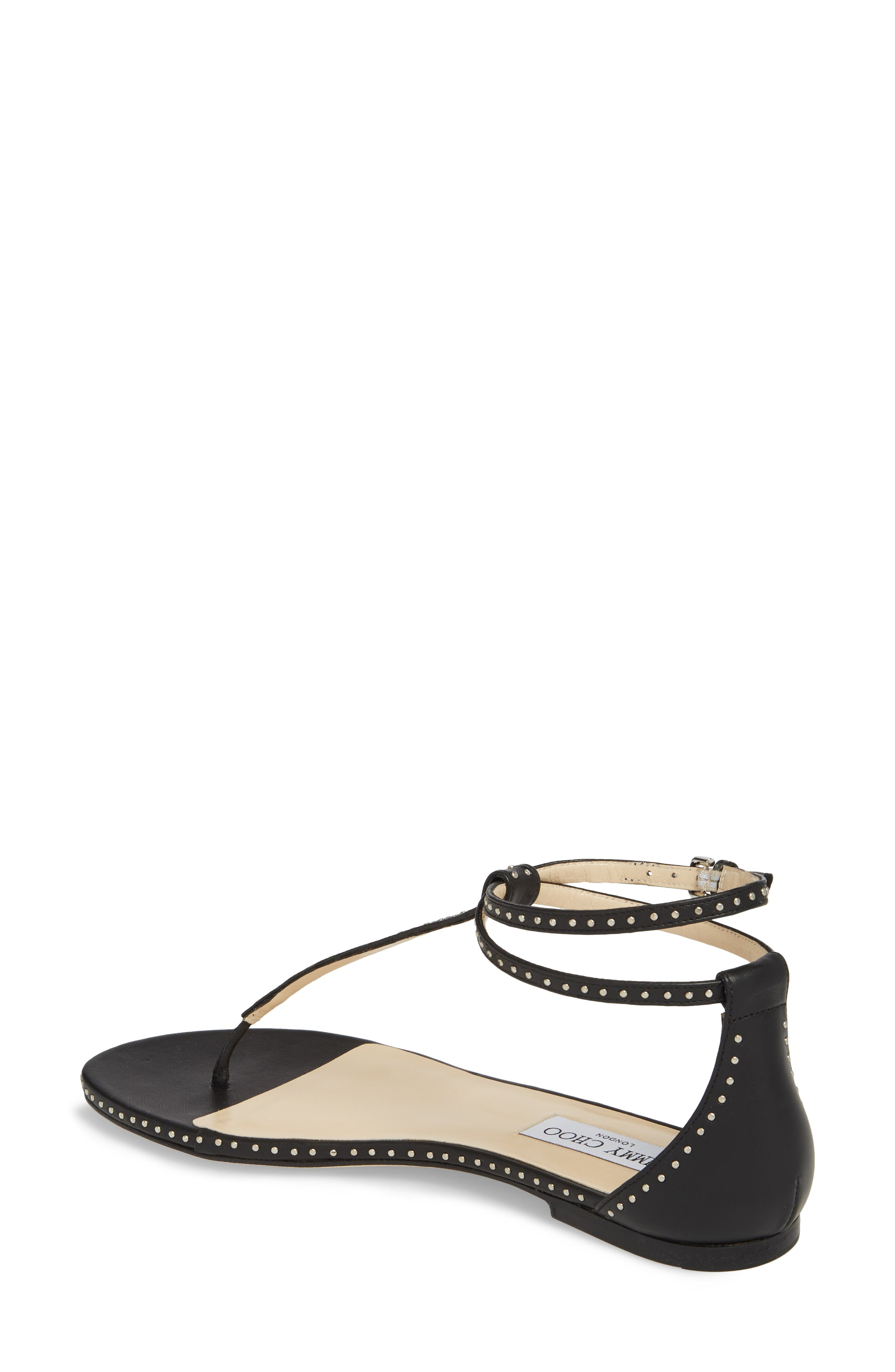 Afia Studded Flat Sandal,                             Alternate thumbnail 2, color,                             BLACK