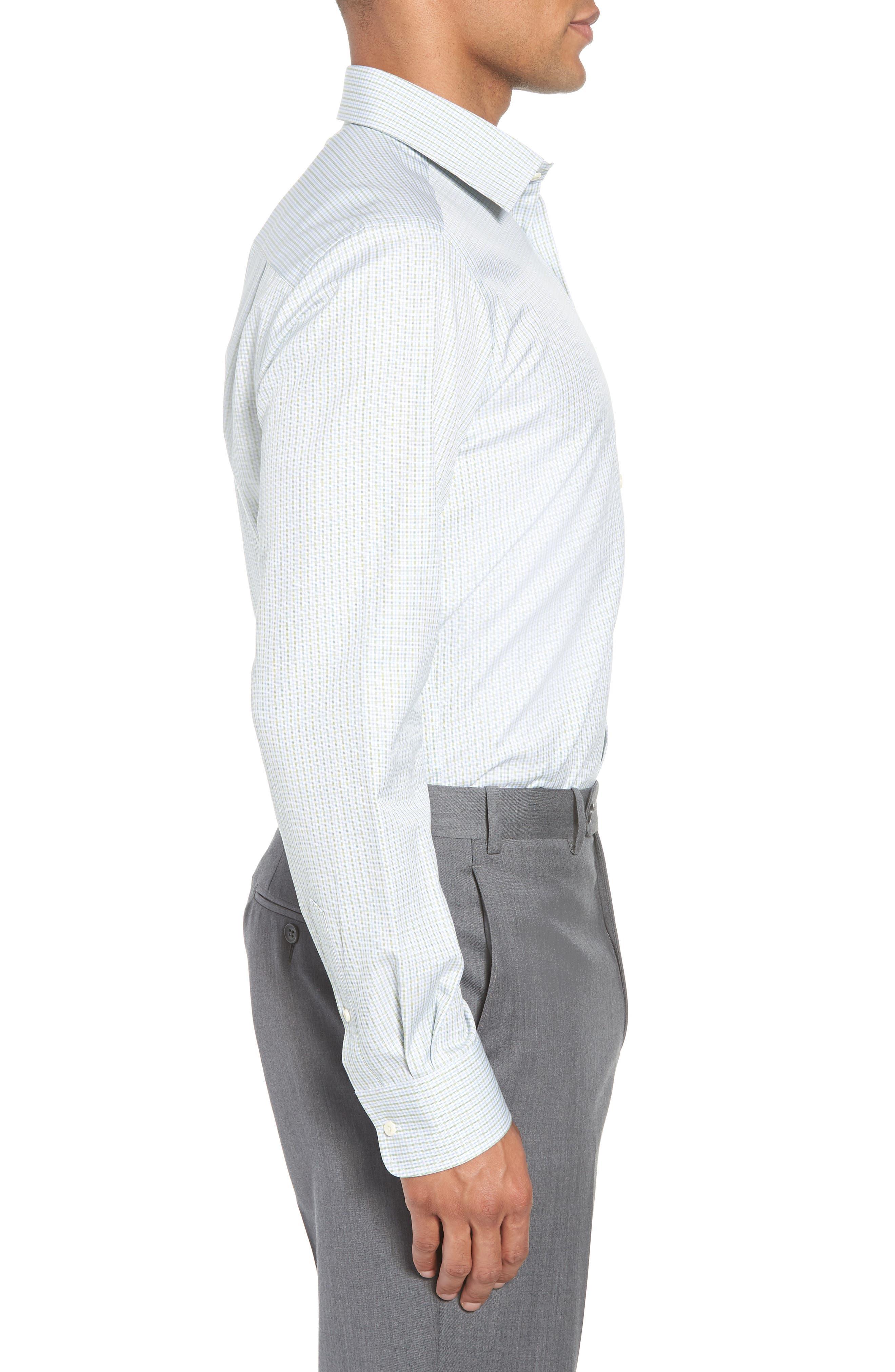 Trim Fit Check Dress Shirt,                             Alternate thumbnail 4, color,                             310