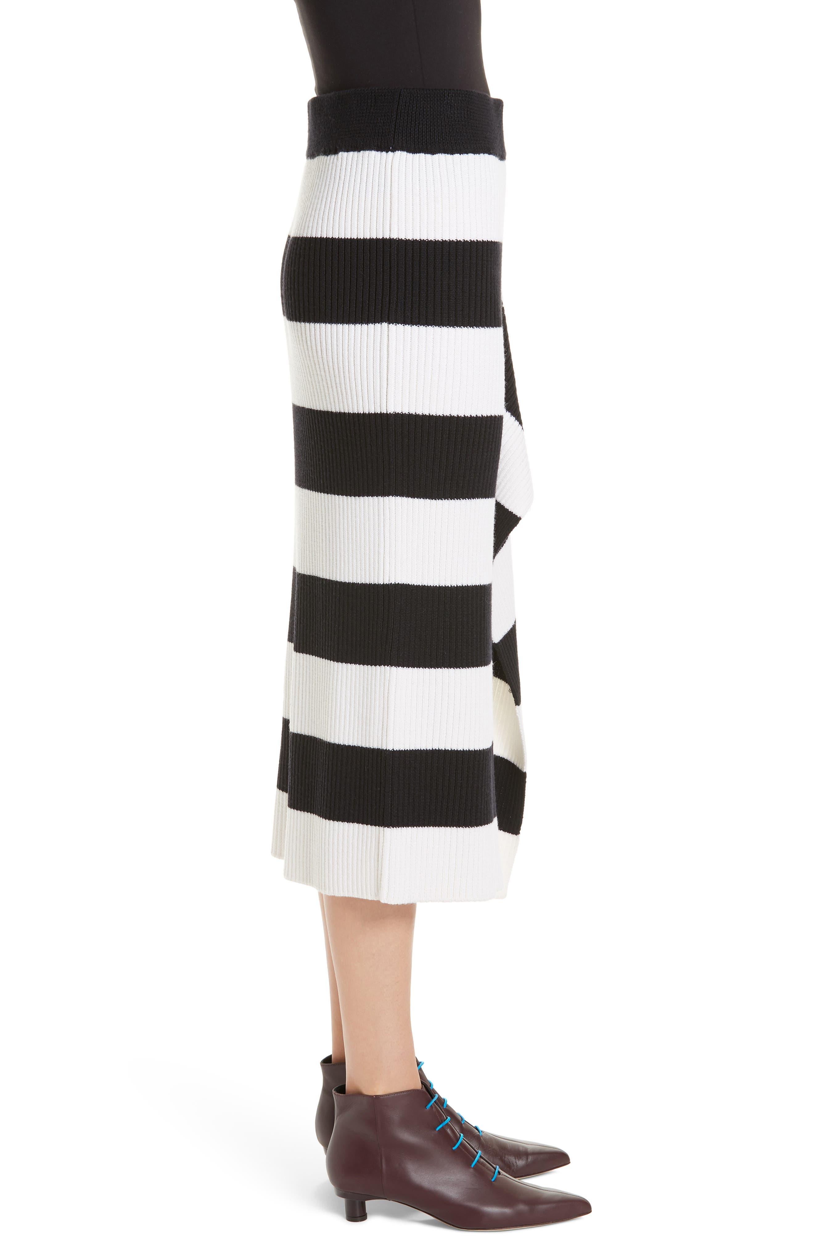 Origami Flap Stripe Midi Skirt,                             Alternate thumbnail 3, color,                             BLACK/ WHITE MULTI