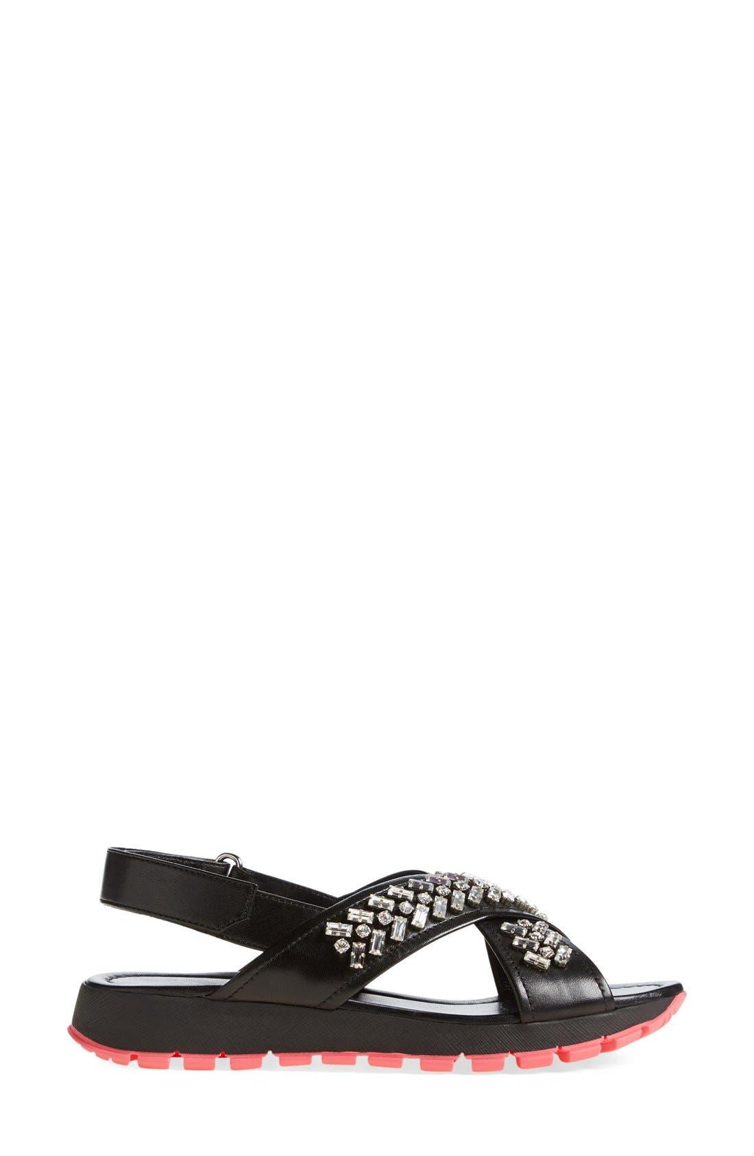 Swarovski Crystal Embellished Crisscross Sandal,                             Alternate thumbnail 2, color,                             001