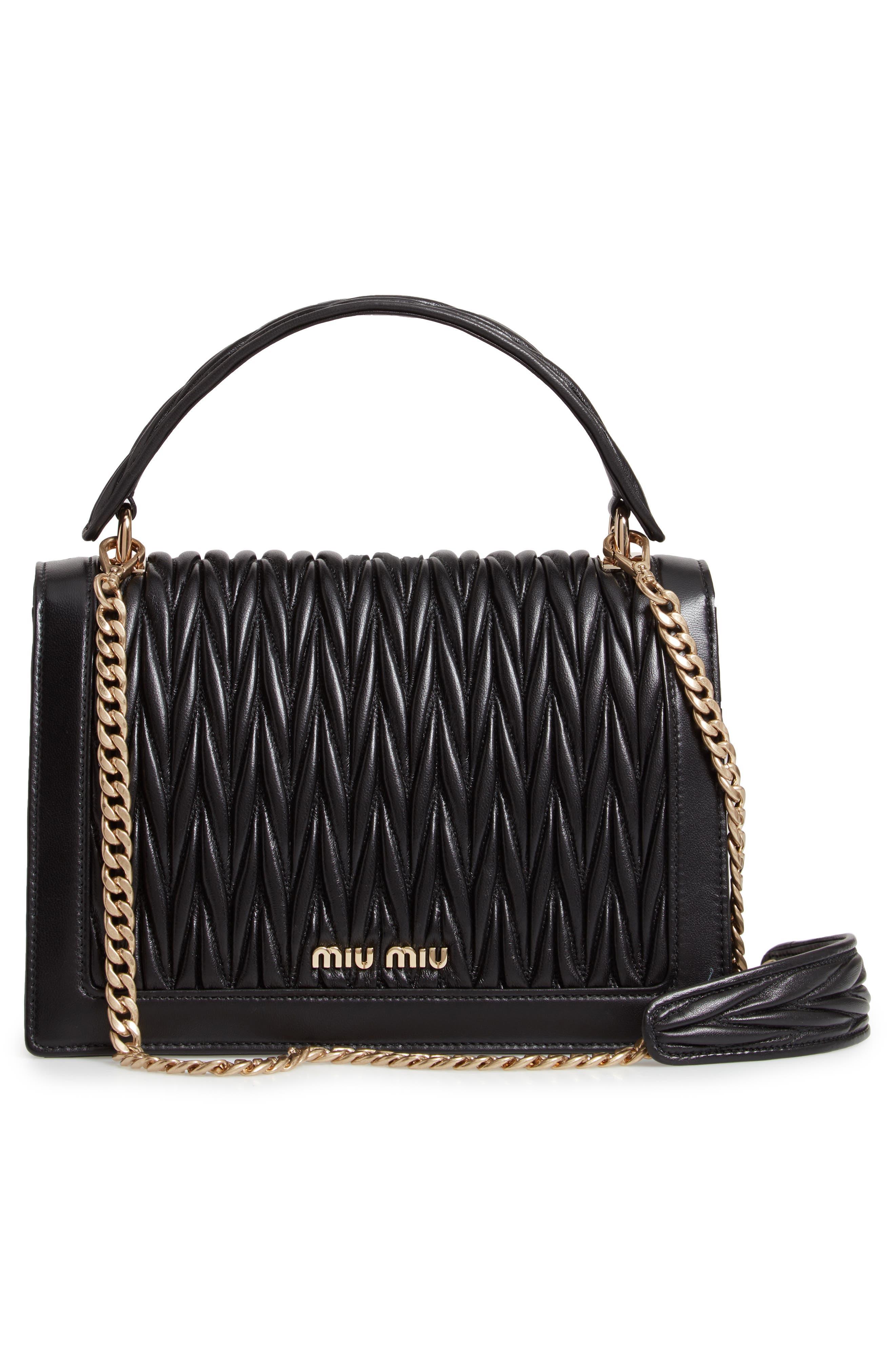 Confidential Matelassé Quilted Lambskin Leather Top Handle Bag,                             Alternate thumbnail 3, color,                             NERO