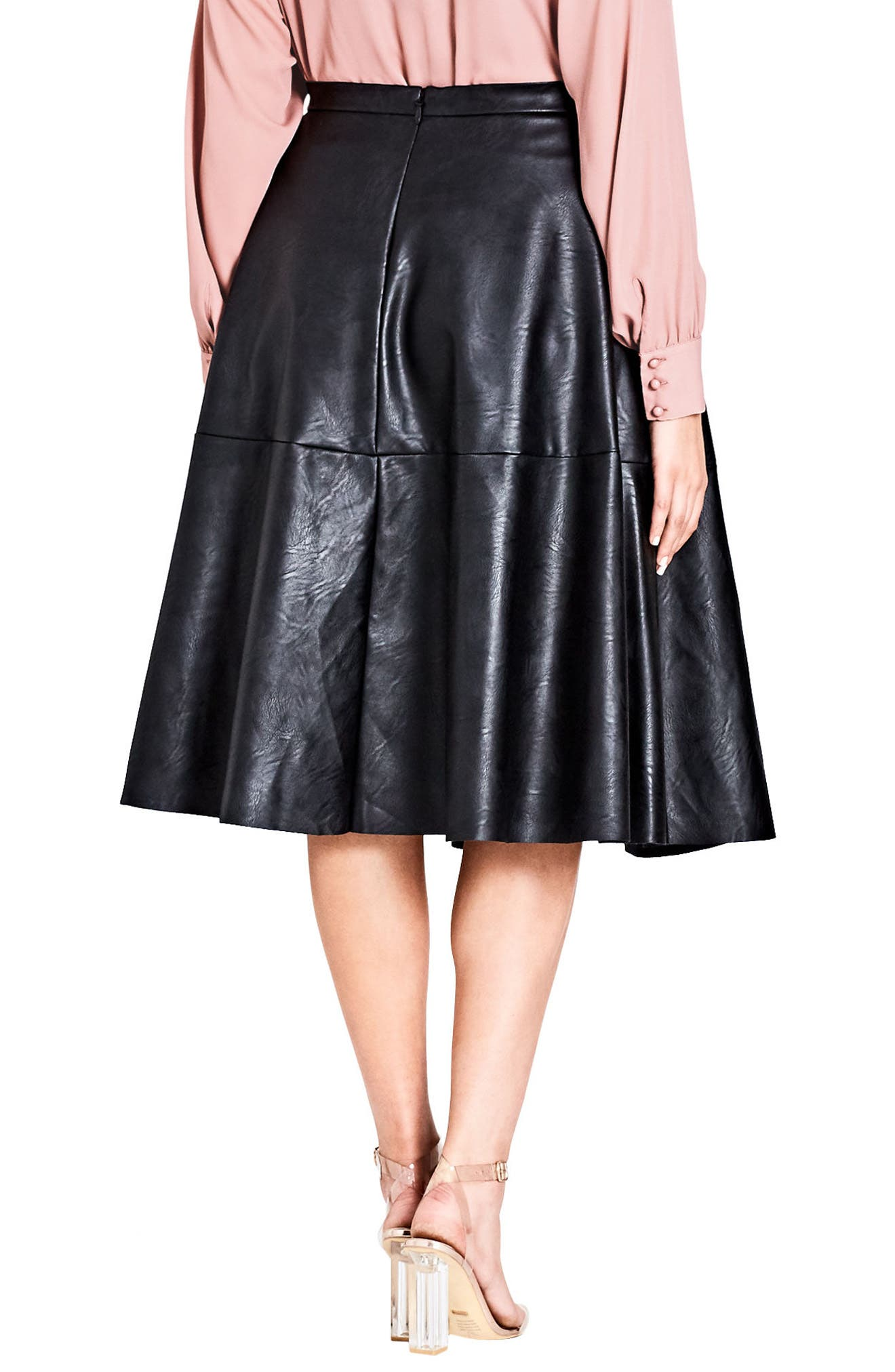 Faux Leather Skirt,                             Alternate thumbnail 2, color,