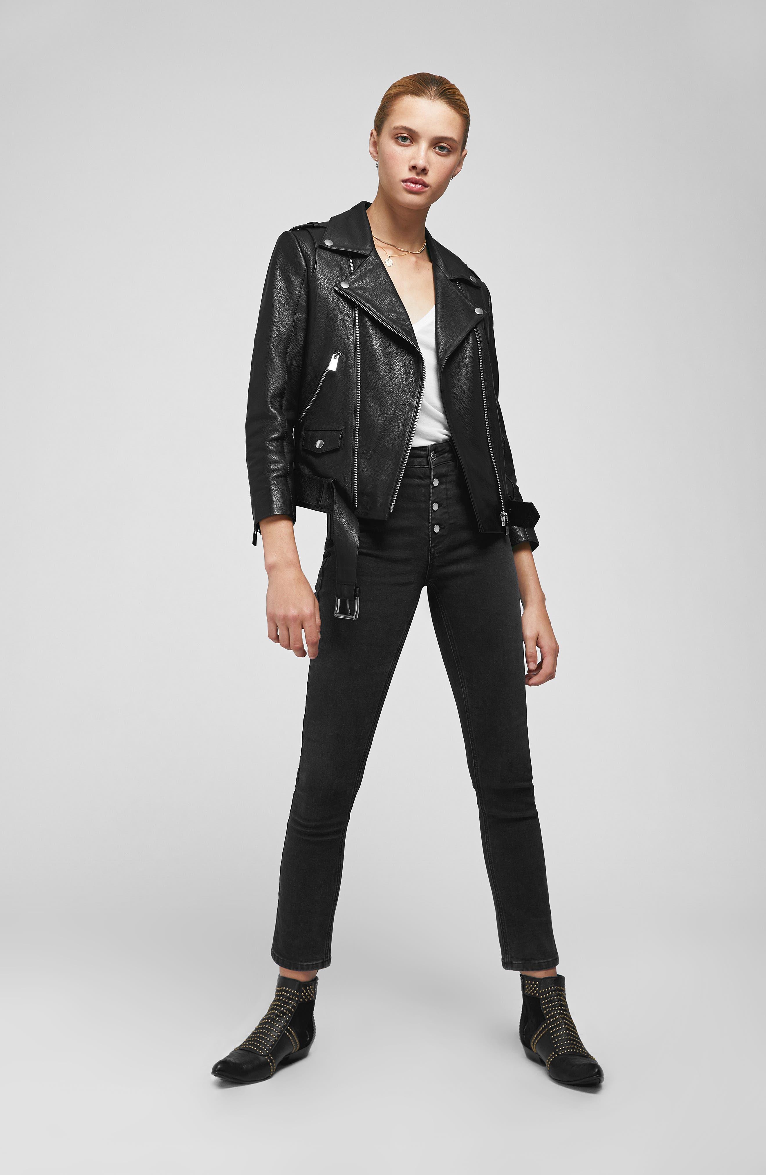 Cropped Leather Moto Jacket,                             Alternate thumbnail 6, color,                             BLACK
