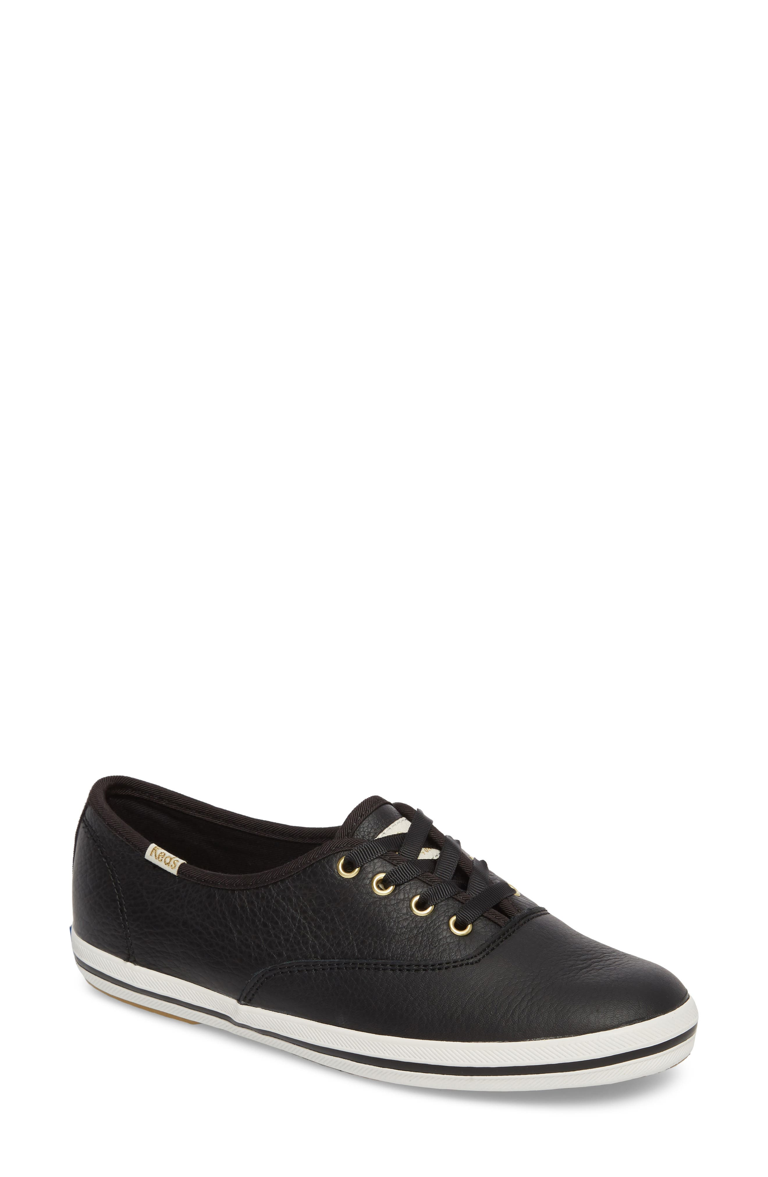 leather sneaker,                         Main,                         color, BLACK LEATHER