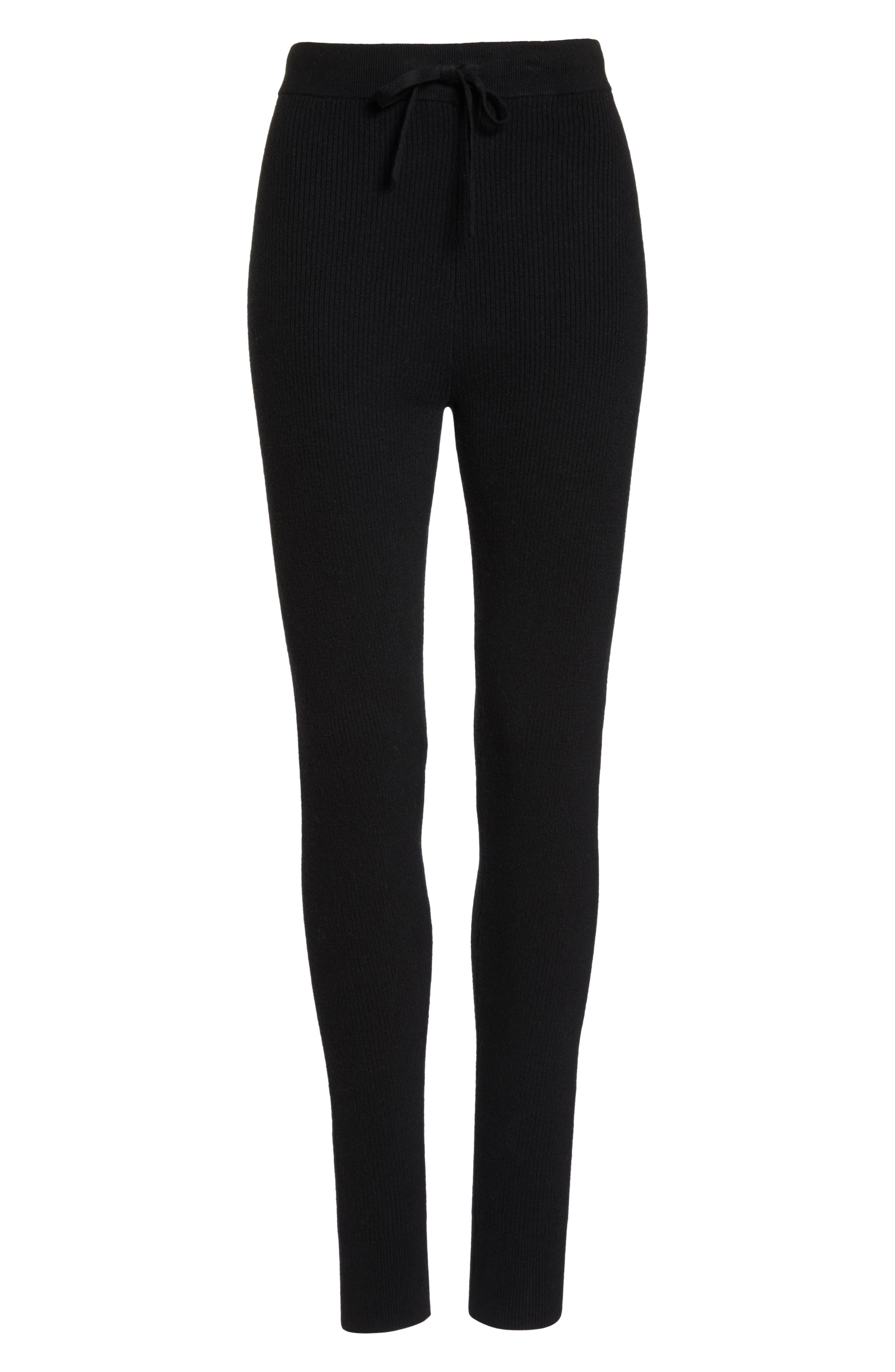 Ribbed Sweater Leggings,                             Alternate thumbnail 6, color,                             BLACK