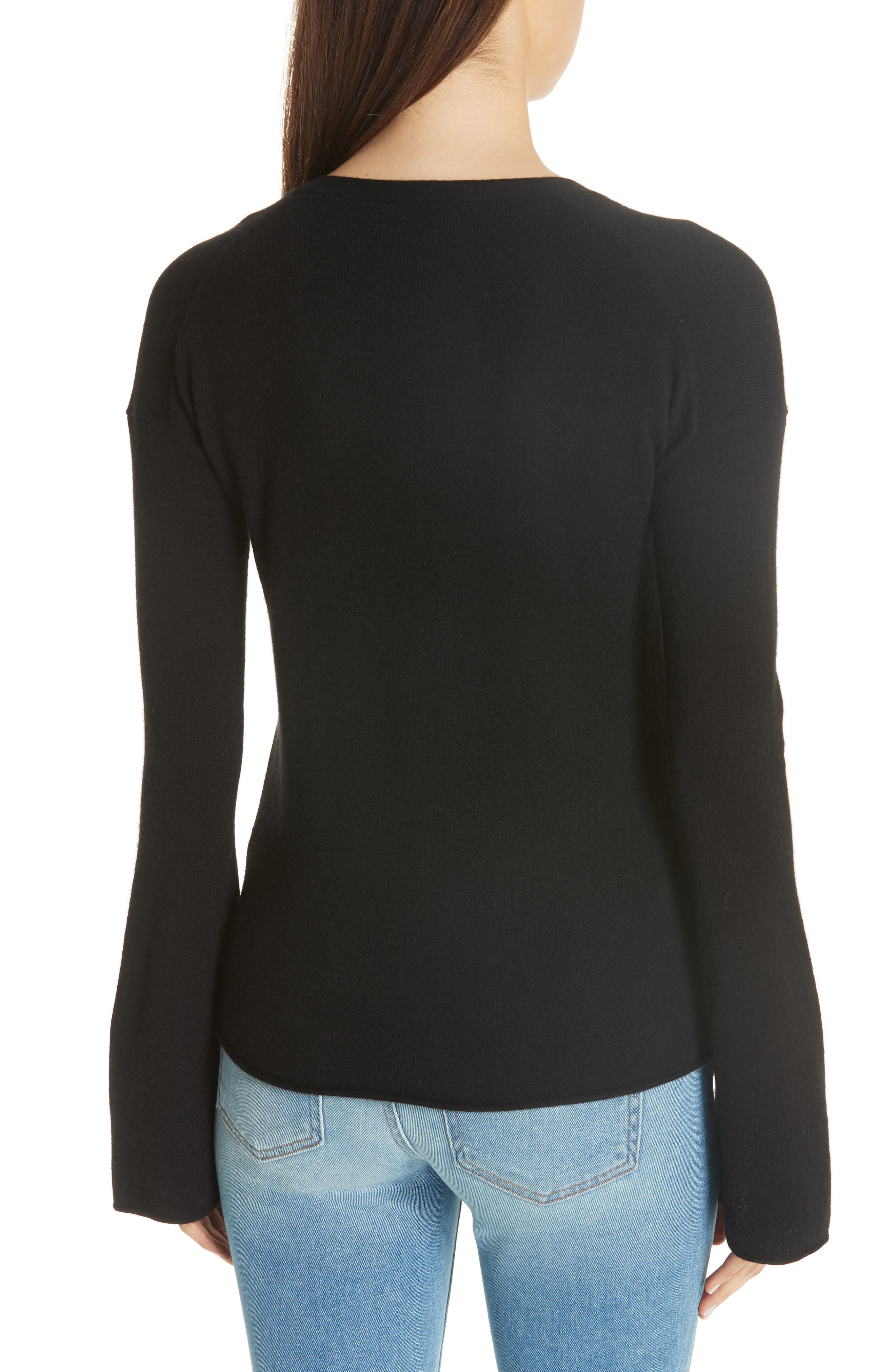 Bell Sleeve Cashmere Cardigan,                             Alternate thumbnail 2, color,                             001