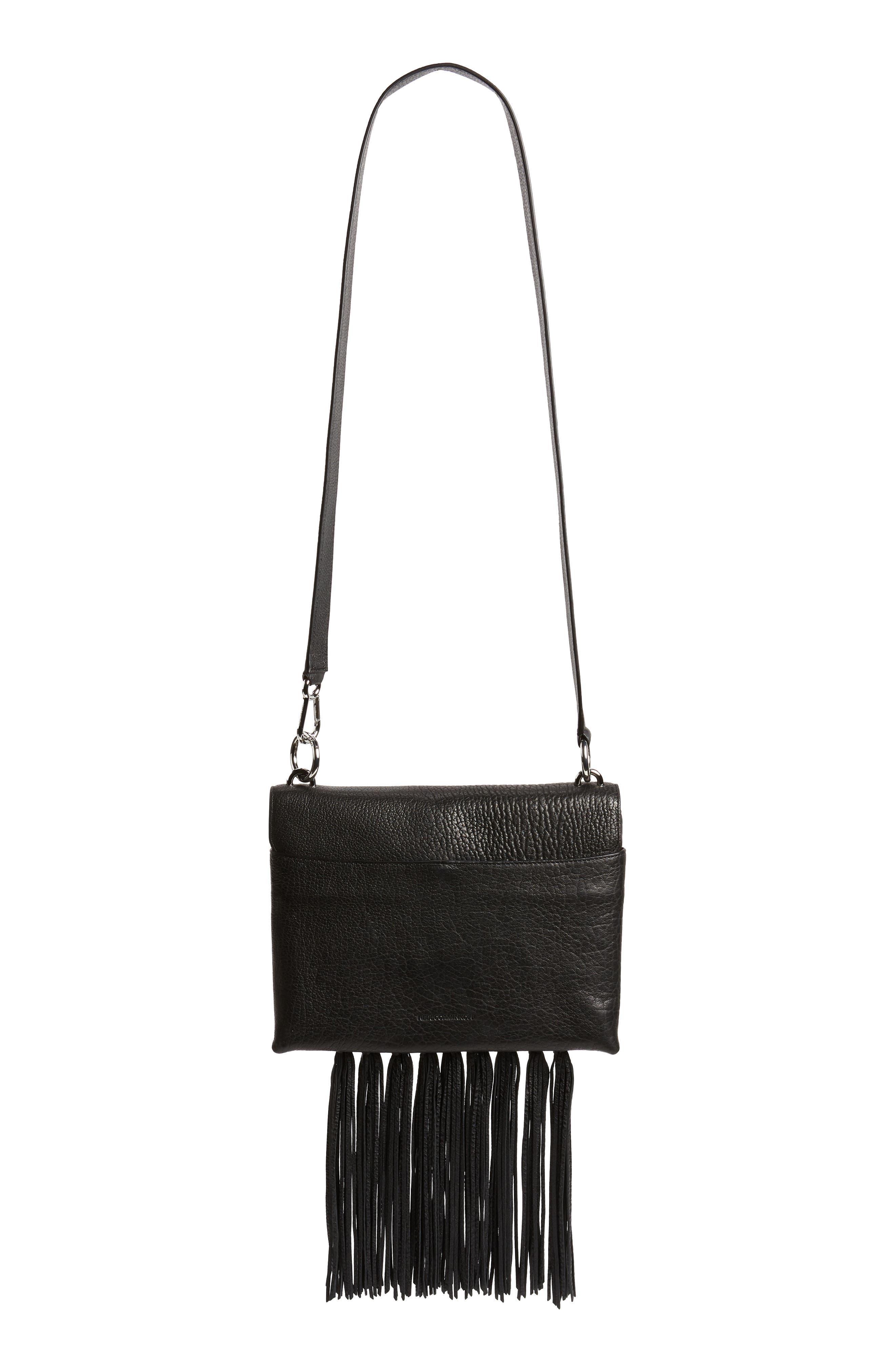 Isabel Fringe Leather Shoulder Bag,                             Alternate thumbnail 4, color,                             001