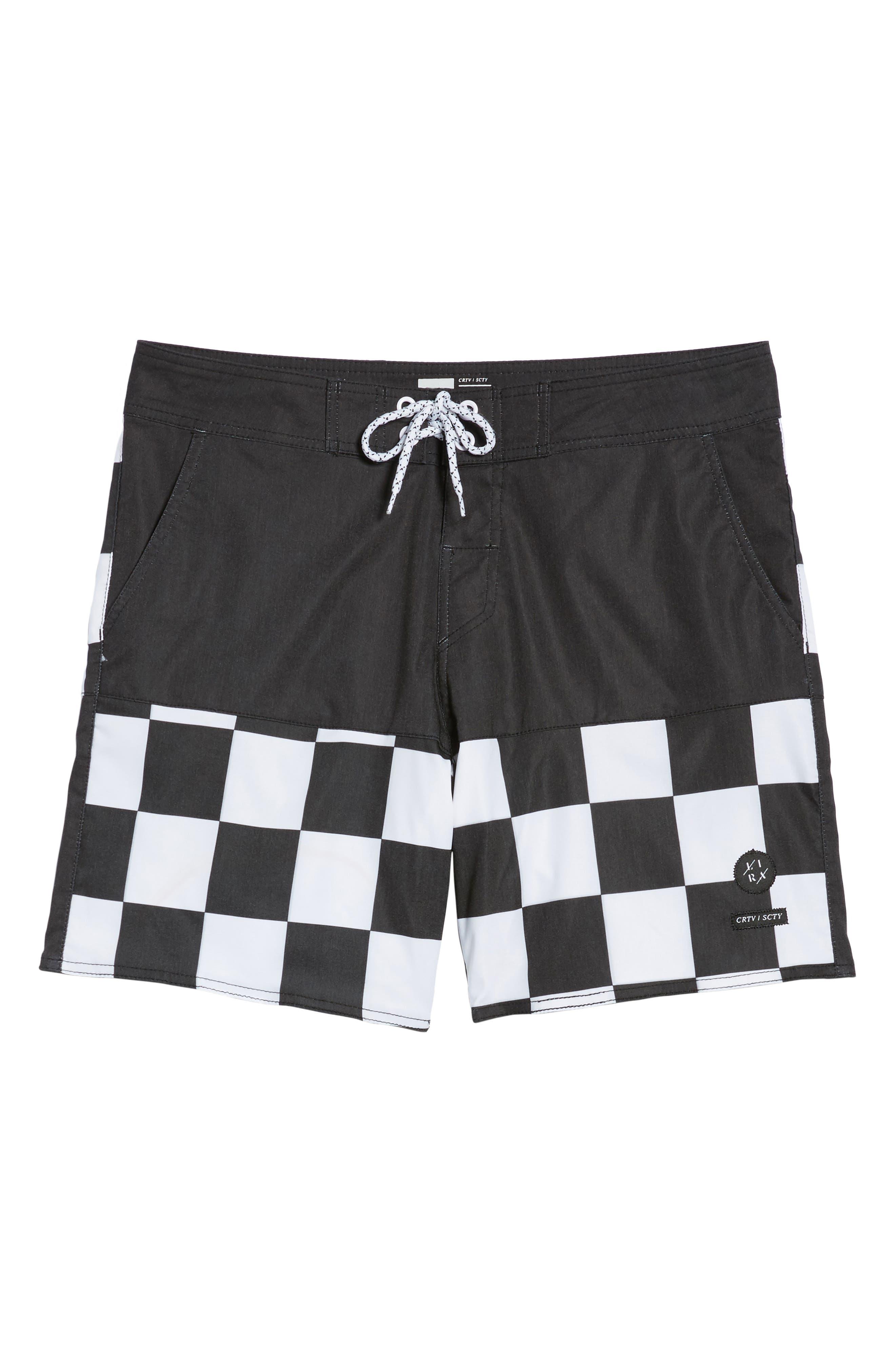 Checkered Board Shorts,                             Alternate thumbnail 6, color,                             001