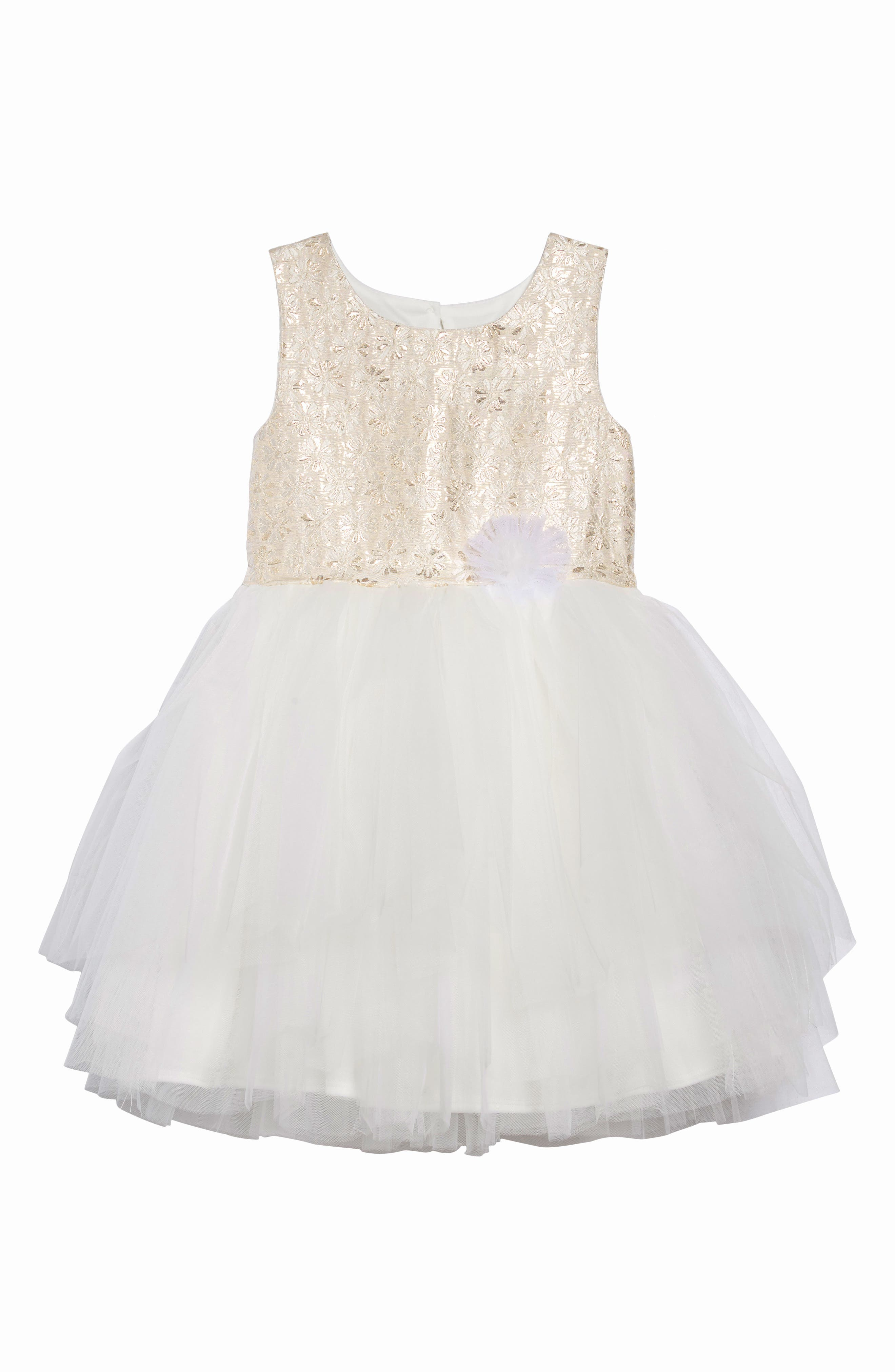 Jacquard & Tulle Dress, Main, color, IVORY