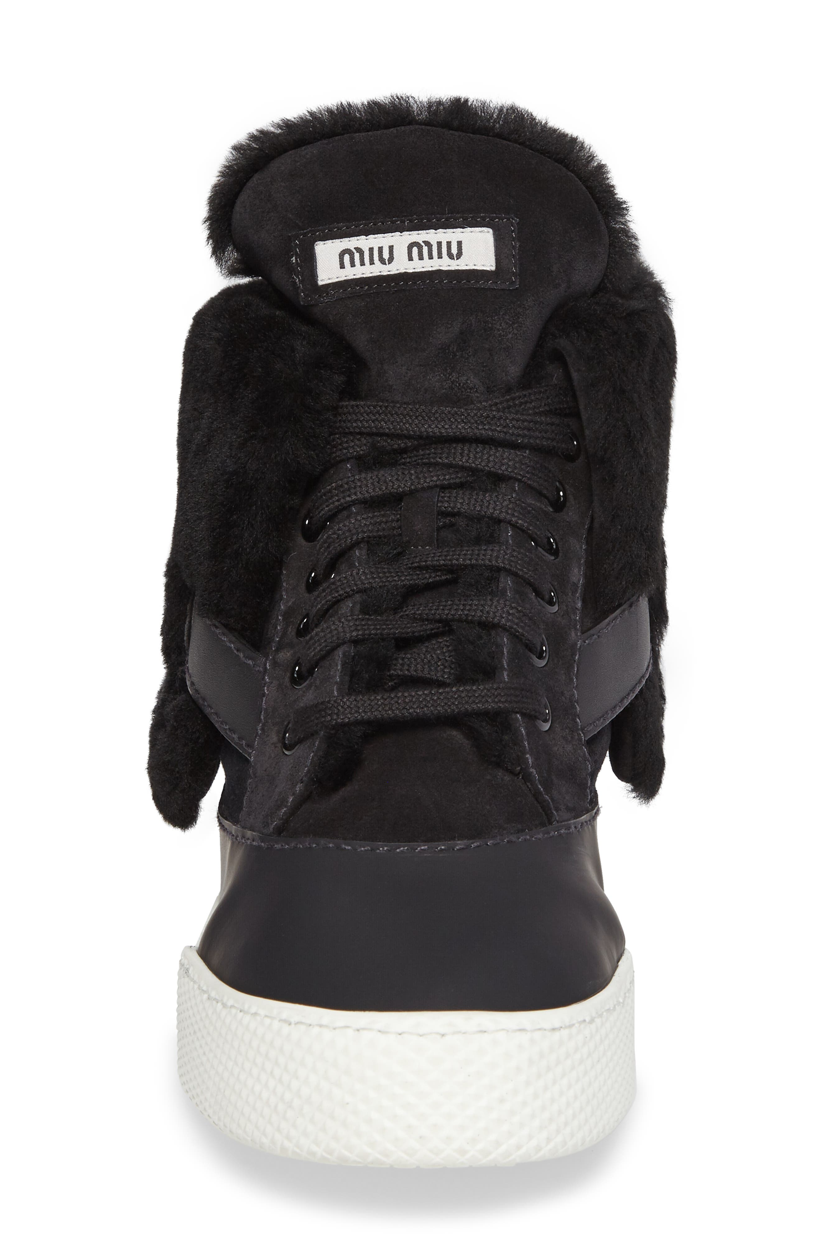 Genuine Shearling Cuffed Buckle Strap Sneaker,                             Alternate thumbnail 4, color,                             001