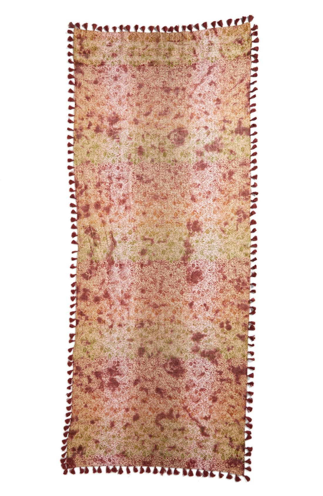 Floral Print Silk & Cotton Scarf,                             Alternate thumbnail 3, color,