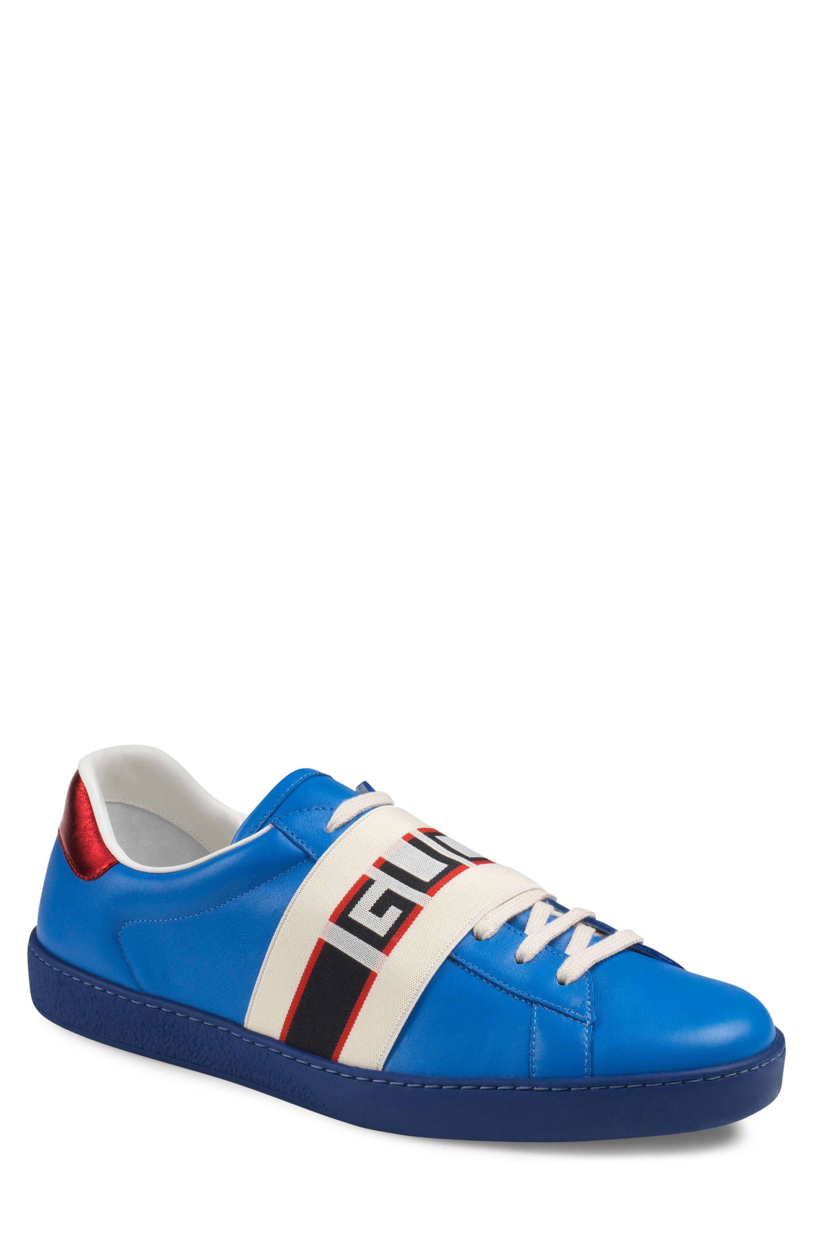 New Ace Stripe Leather Sneaker,                         Main,                         color, BLUE
