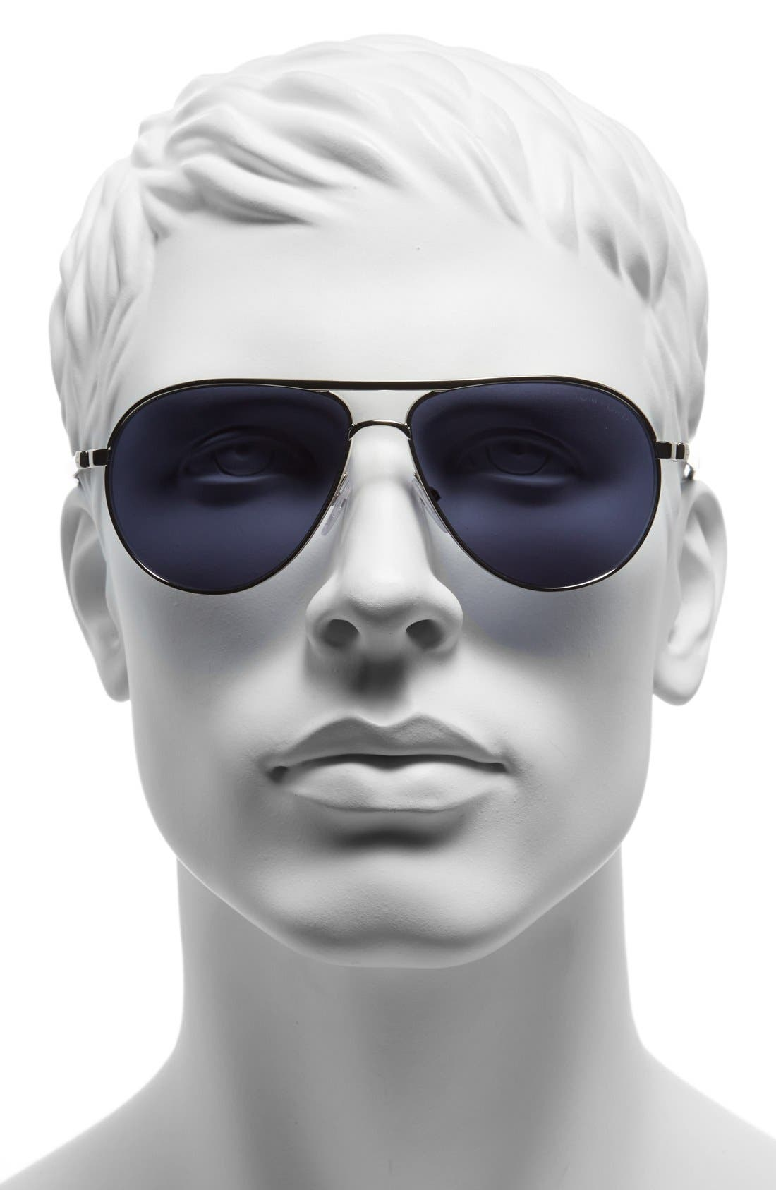 'Marko' 58mm Sunglasses,                             Alternate thumbnail 2, color,                             RHODIUM