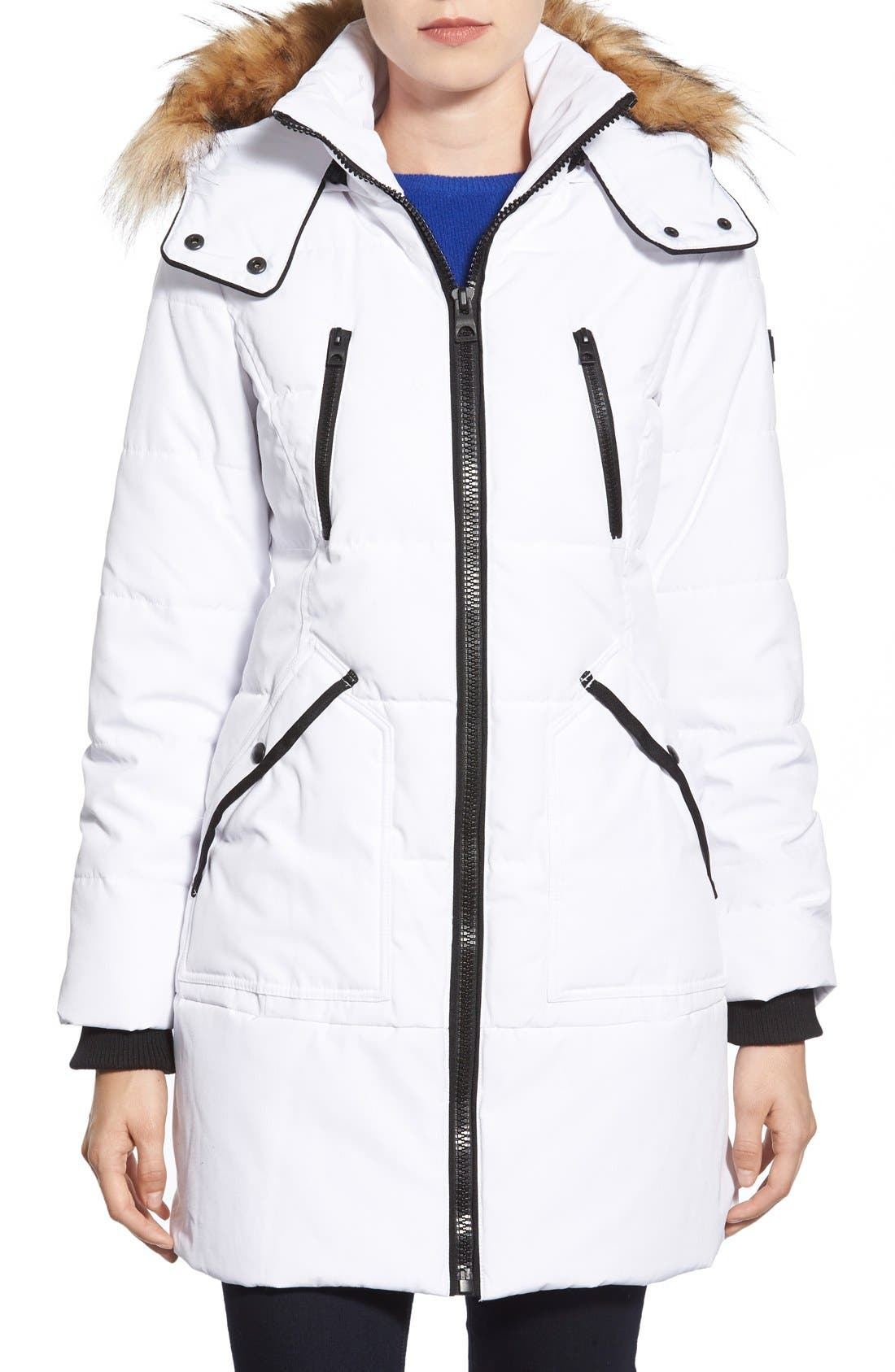 'Expedition' Quilted Parka with Faux Fur Trim,                             Main thumbnail 4, color,