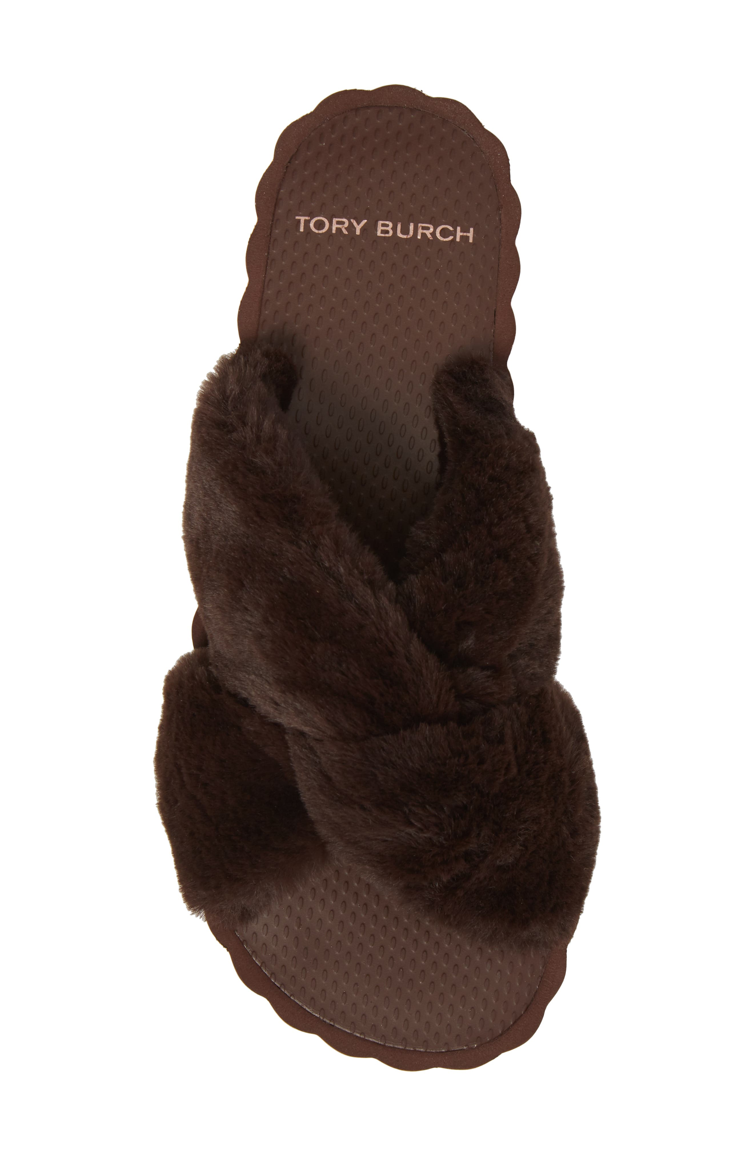 TORY BURCH,                             Faux Fur Scallop Platform Slide Sandal,                             Alternate thumbnail 5, color,                             207