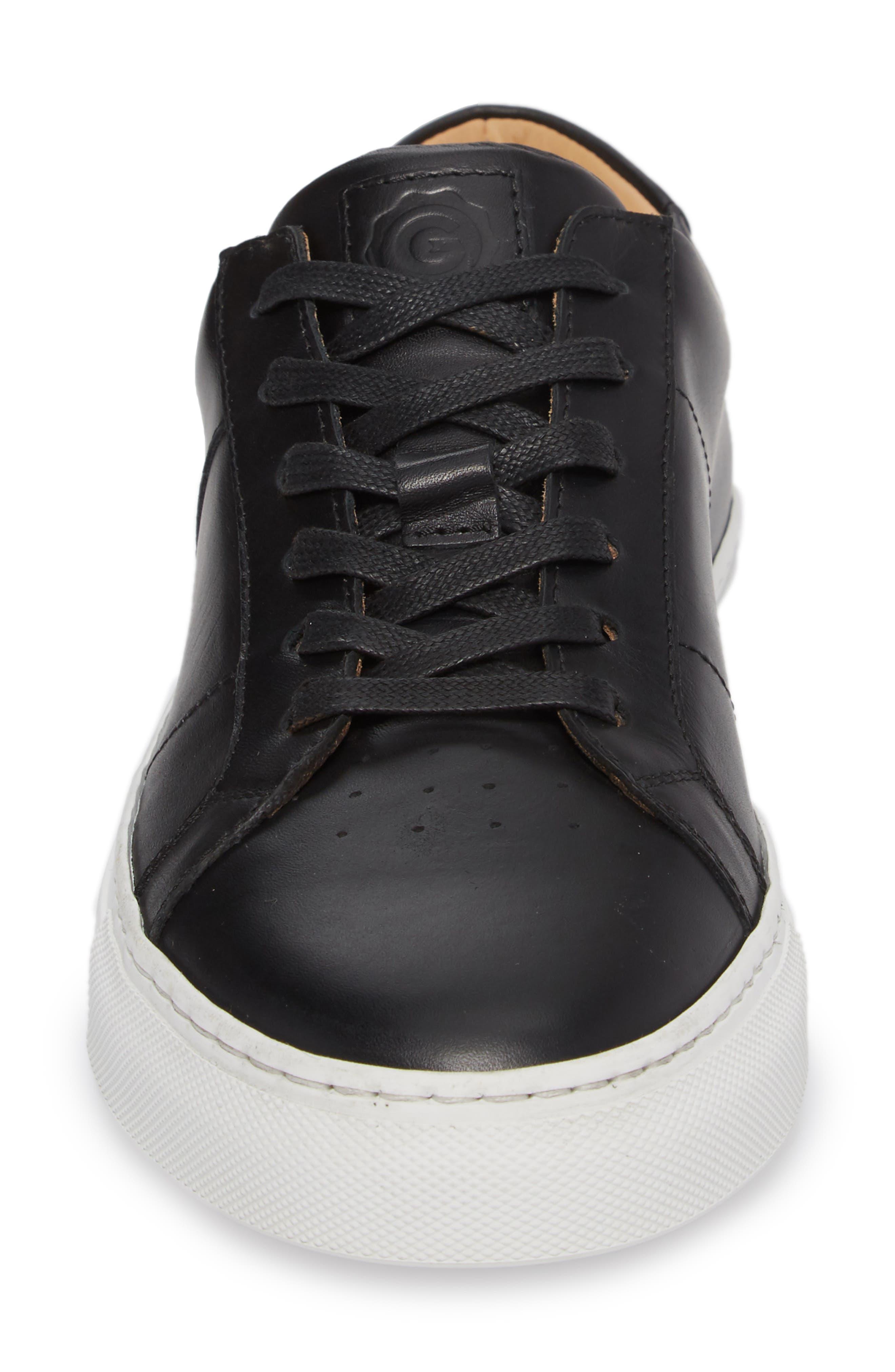 Royale Sneaker,                             Alternate thumbnail 4, color,                             BLACK LEATHER