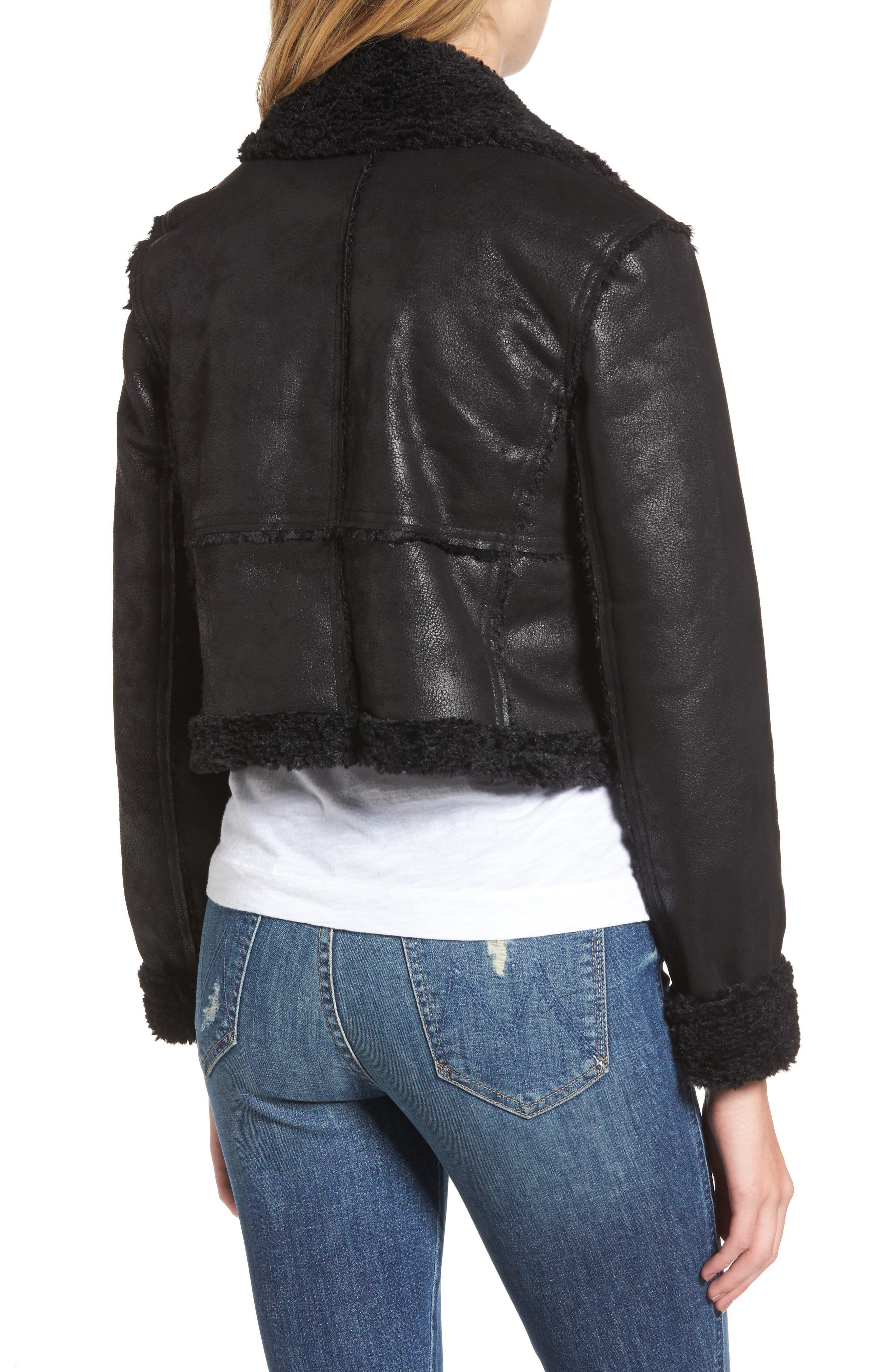 Claudine Faux Shearling Moto Jacket,                             Alternate thumbnail 2, color,                             001