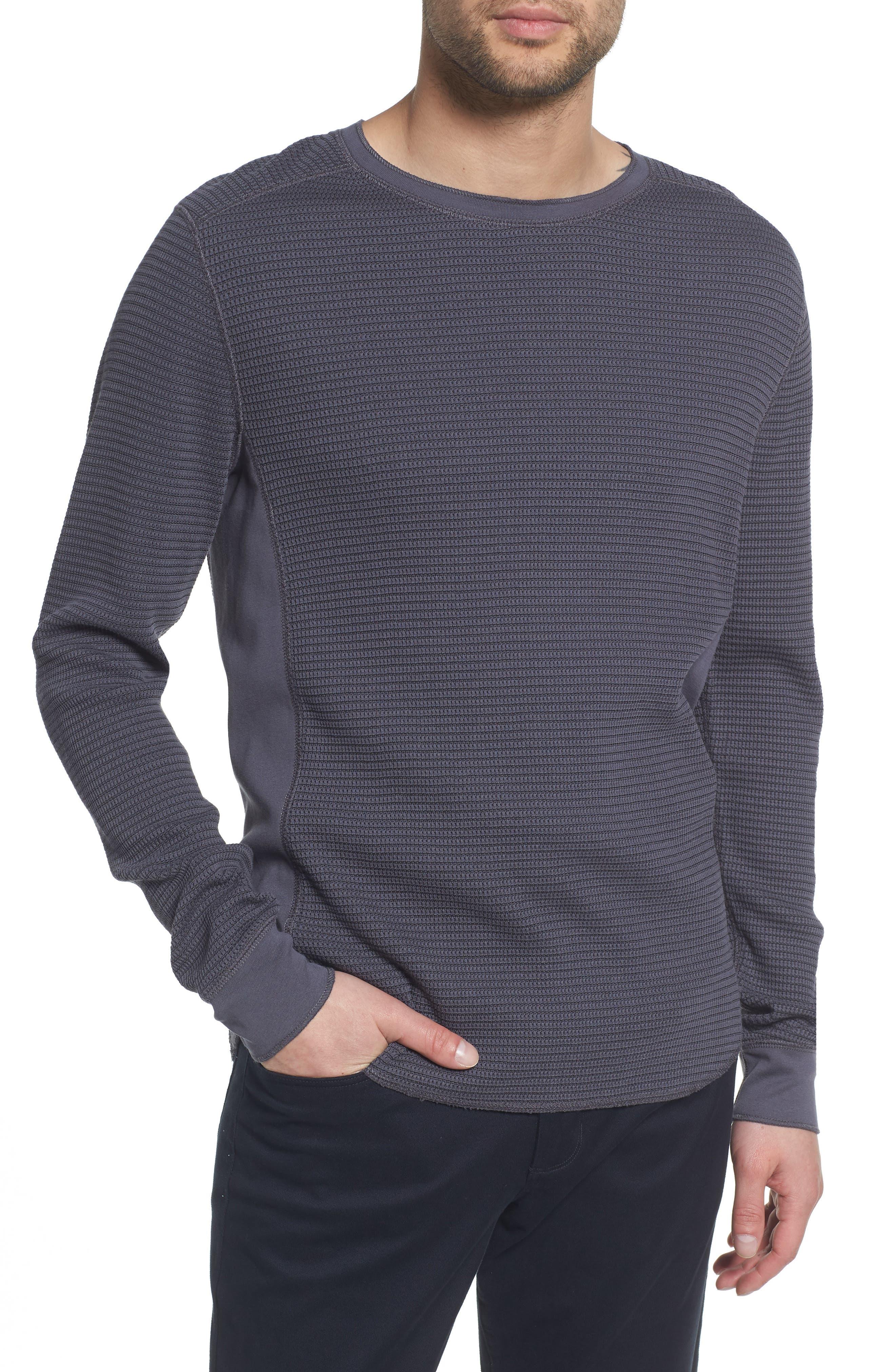 Regular Fit Waffle Knit Cotton Blend Crewneck T-Shirt,                         Main,                         color, TITANIUM