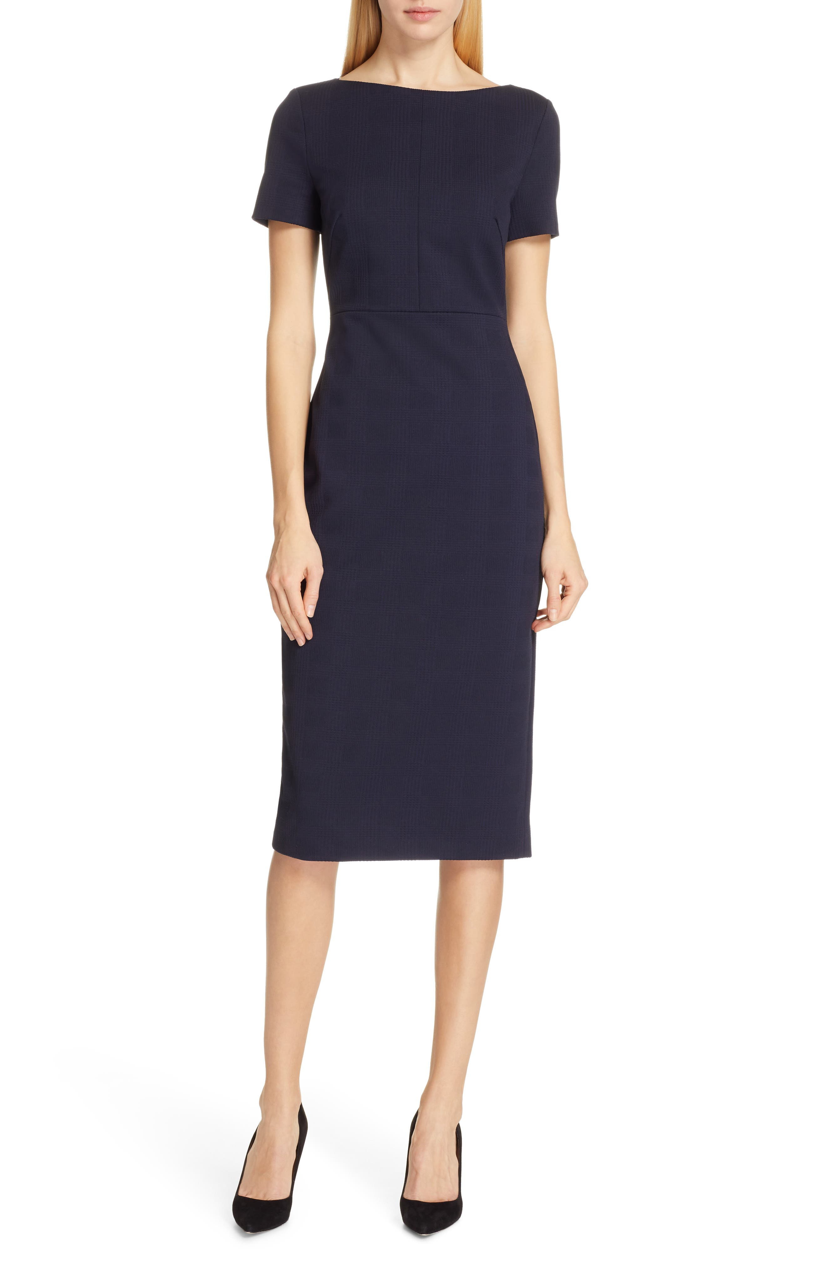 Boss Dalula Tonal Textured Sheath Dress, Blue