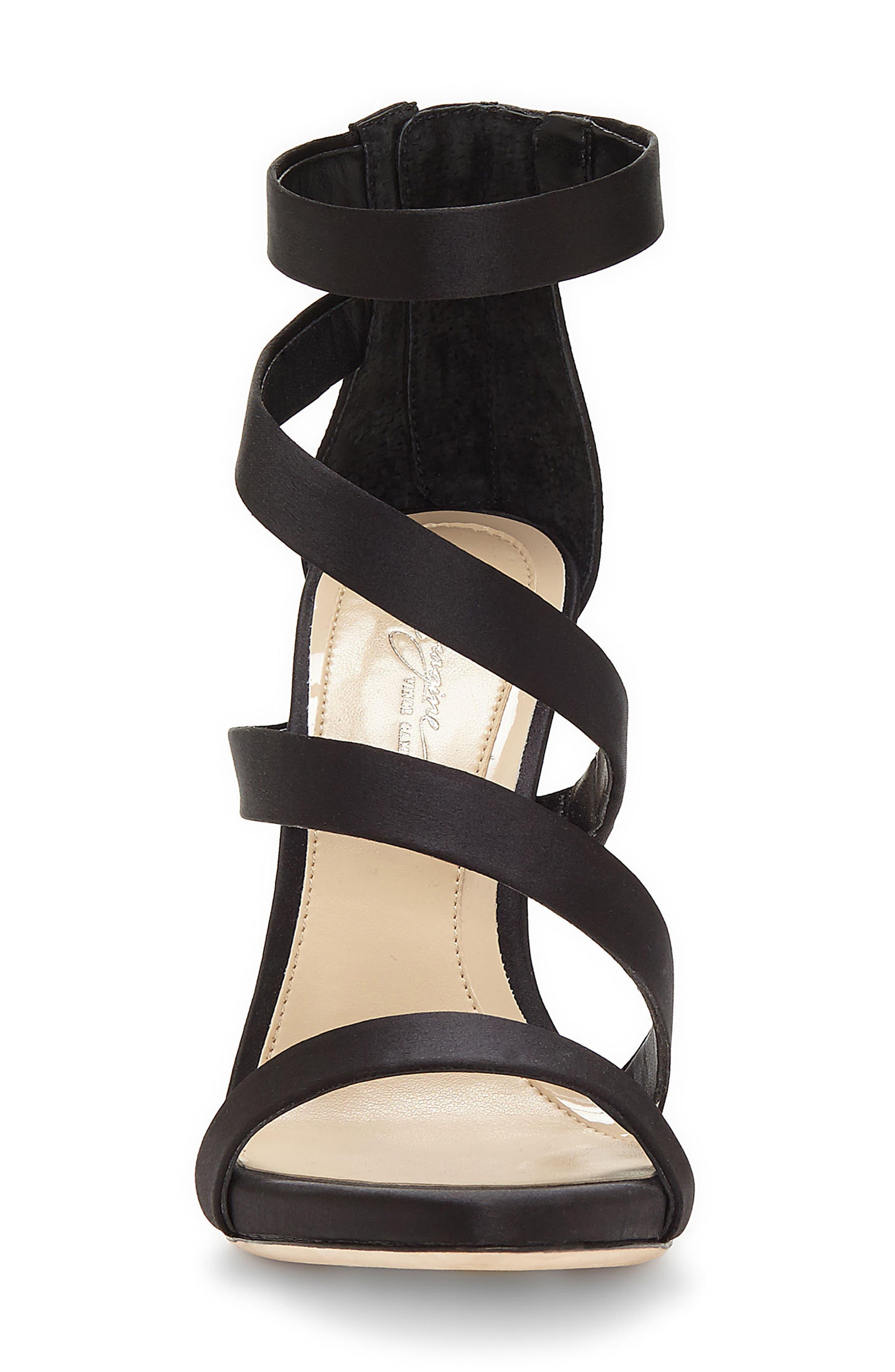 Imagine Vince Camuto Dalles Tall Strappy Sandal,                             Alternate thumbnail 4, color,                             BLACK SATIN