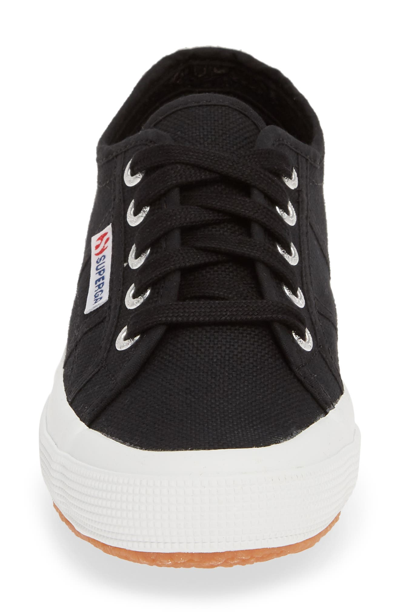 SUPERGA,                             'Linea' Wedge Sneaker,                             Alternate thumbnail 4, color,                             BLACK / WHITE