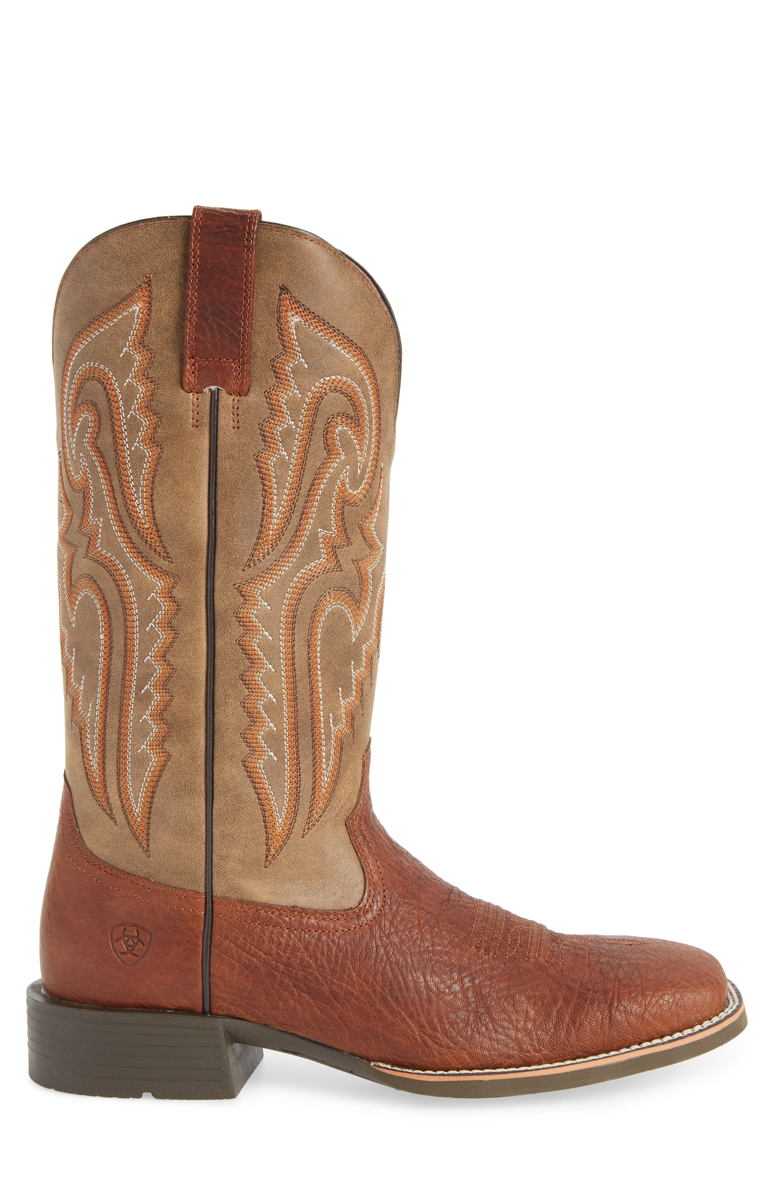 Heritage Latigo Square Toe Cowboy Boot,                             Alternate thumbnail 3, color,                             COGNAC/ BROWN BOMBER LEATHER