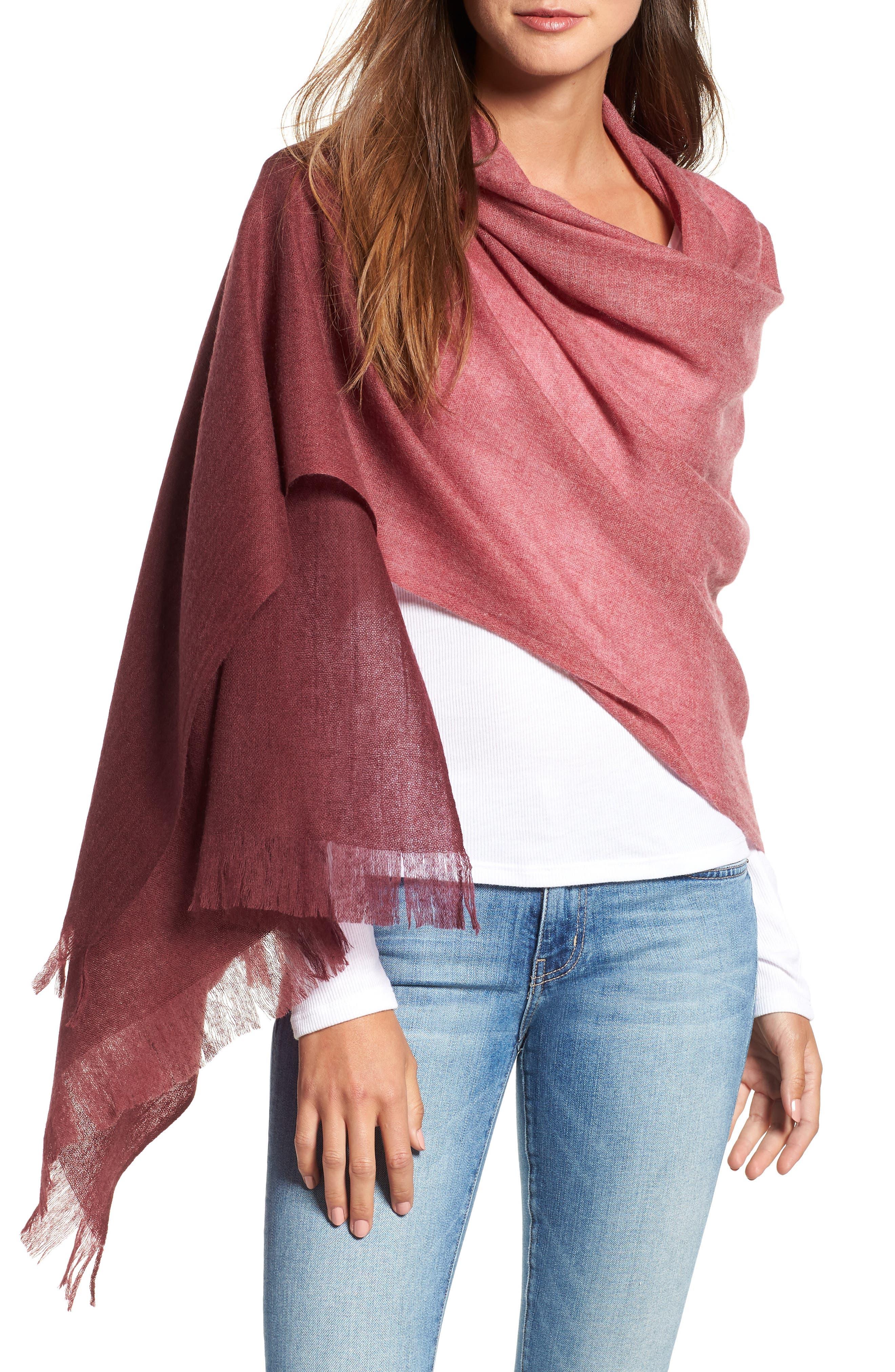 Caslon Dip Dye Cashmere Wrap,                             Main thumbnail 1, color,                             BURGUNDY COMBO