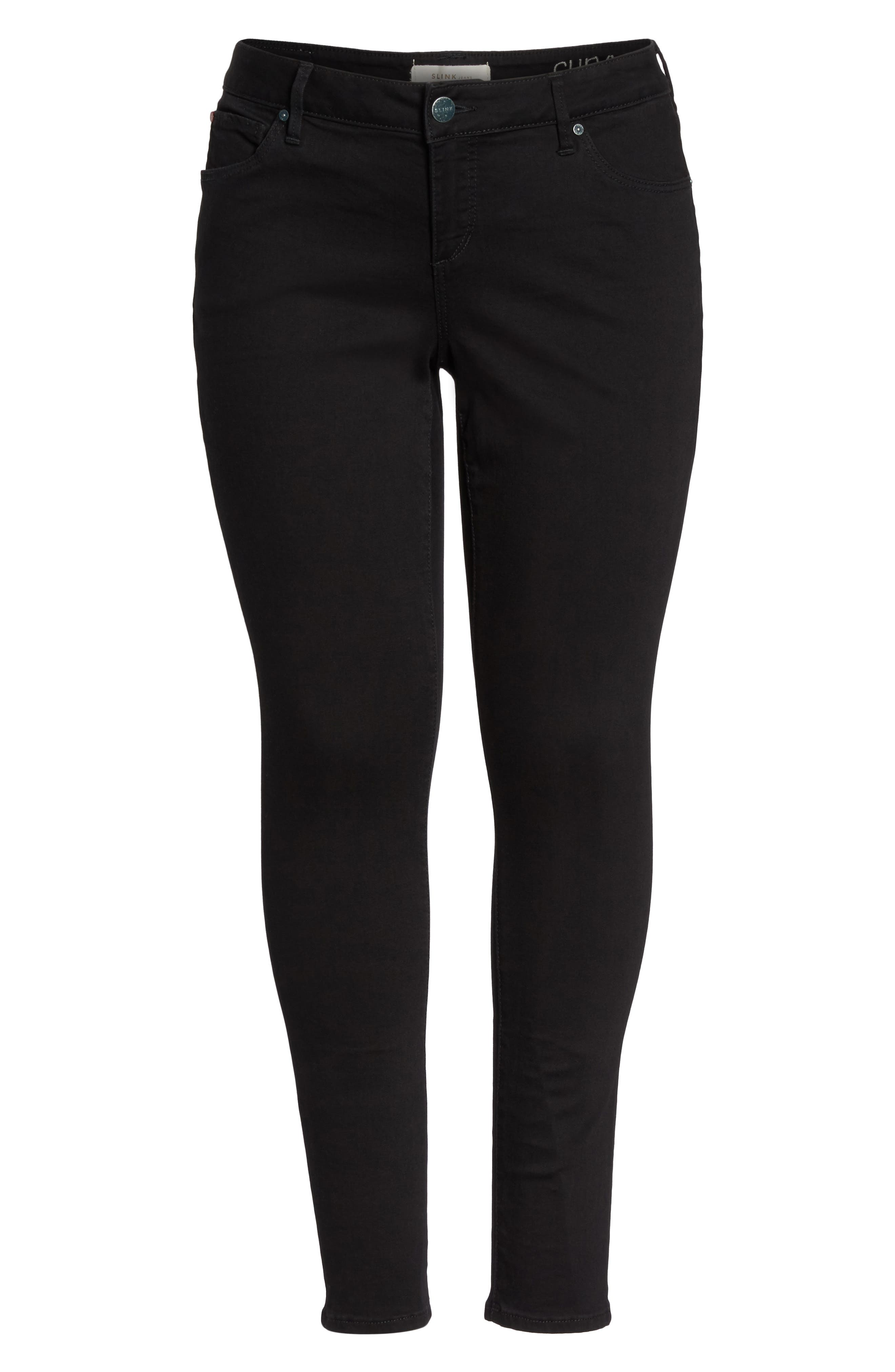 'The Skinny' Stretch Denim Jeans,                             Alternate thumbnail 4, color,                             BLACK