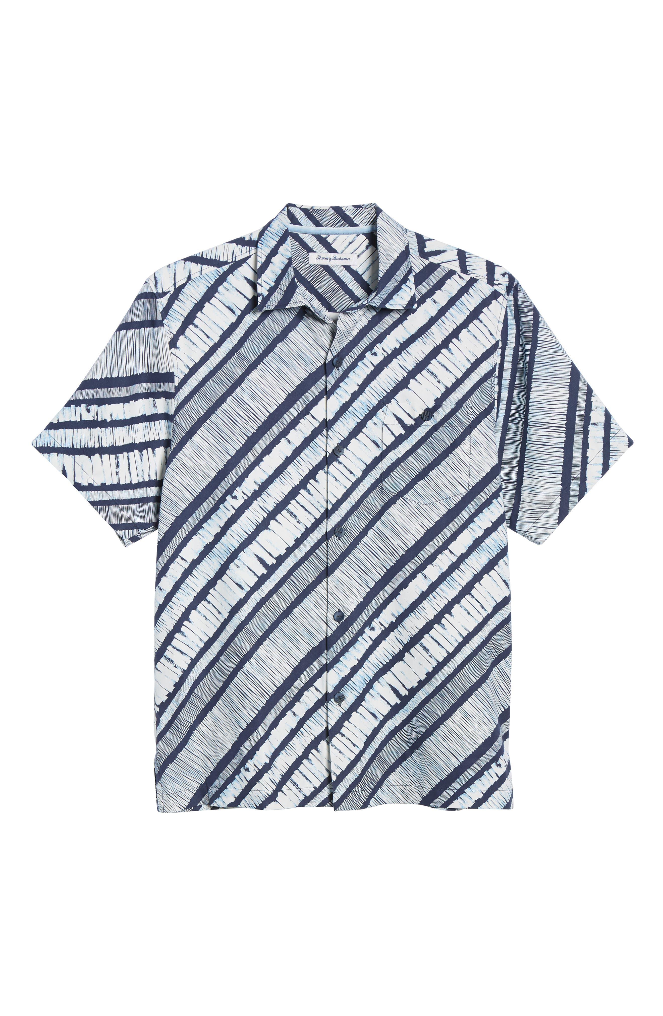 North Shore Winds Classic Fit Silk Camp Shirt,                             Alternate thumbnail 5, color,                             OCEAN DEEP