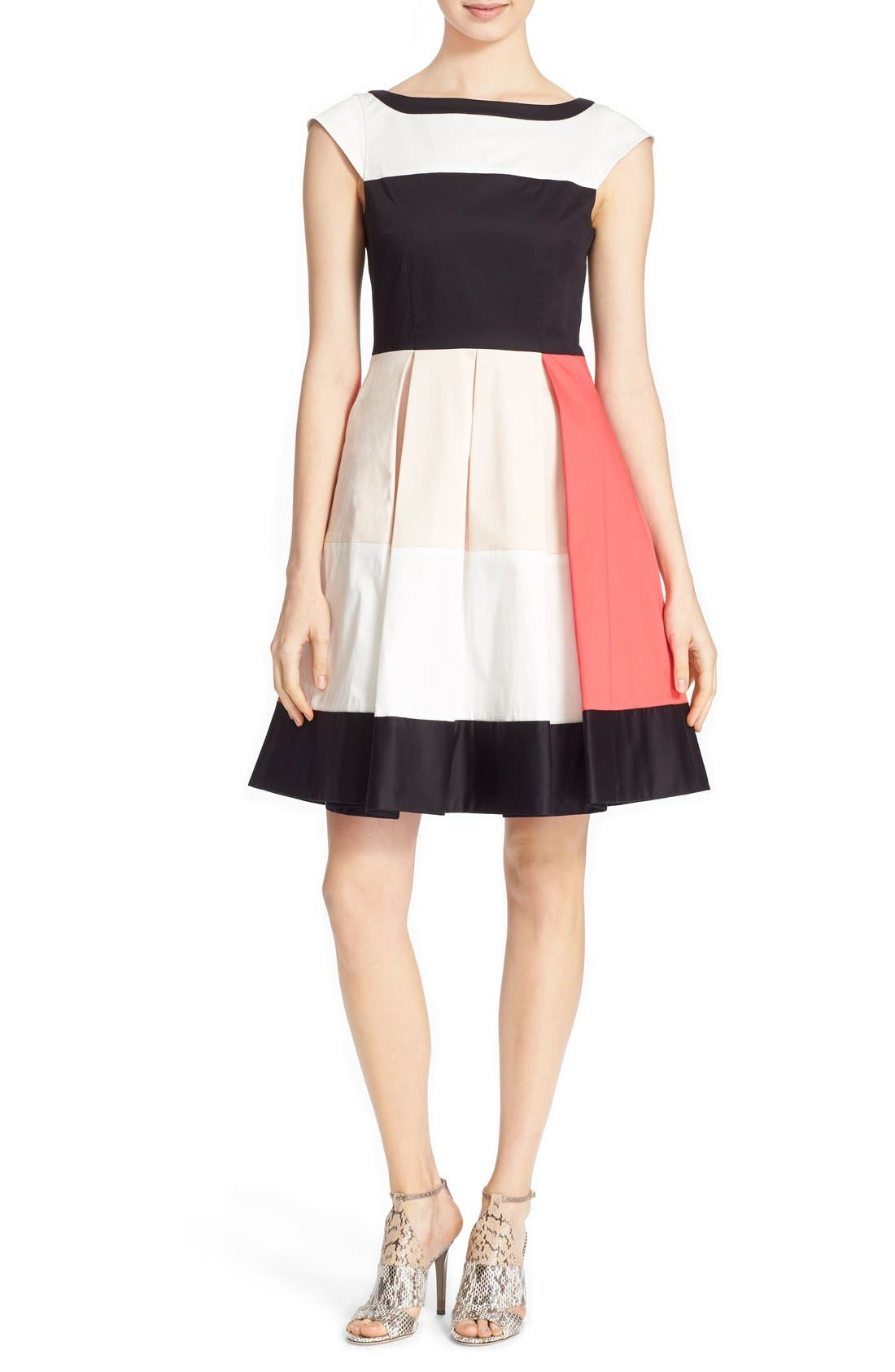 'adette' colorblock fit & flare dress,                             Alternate thumbnail 4, color,                             110