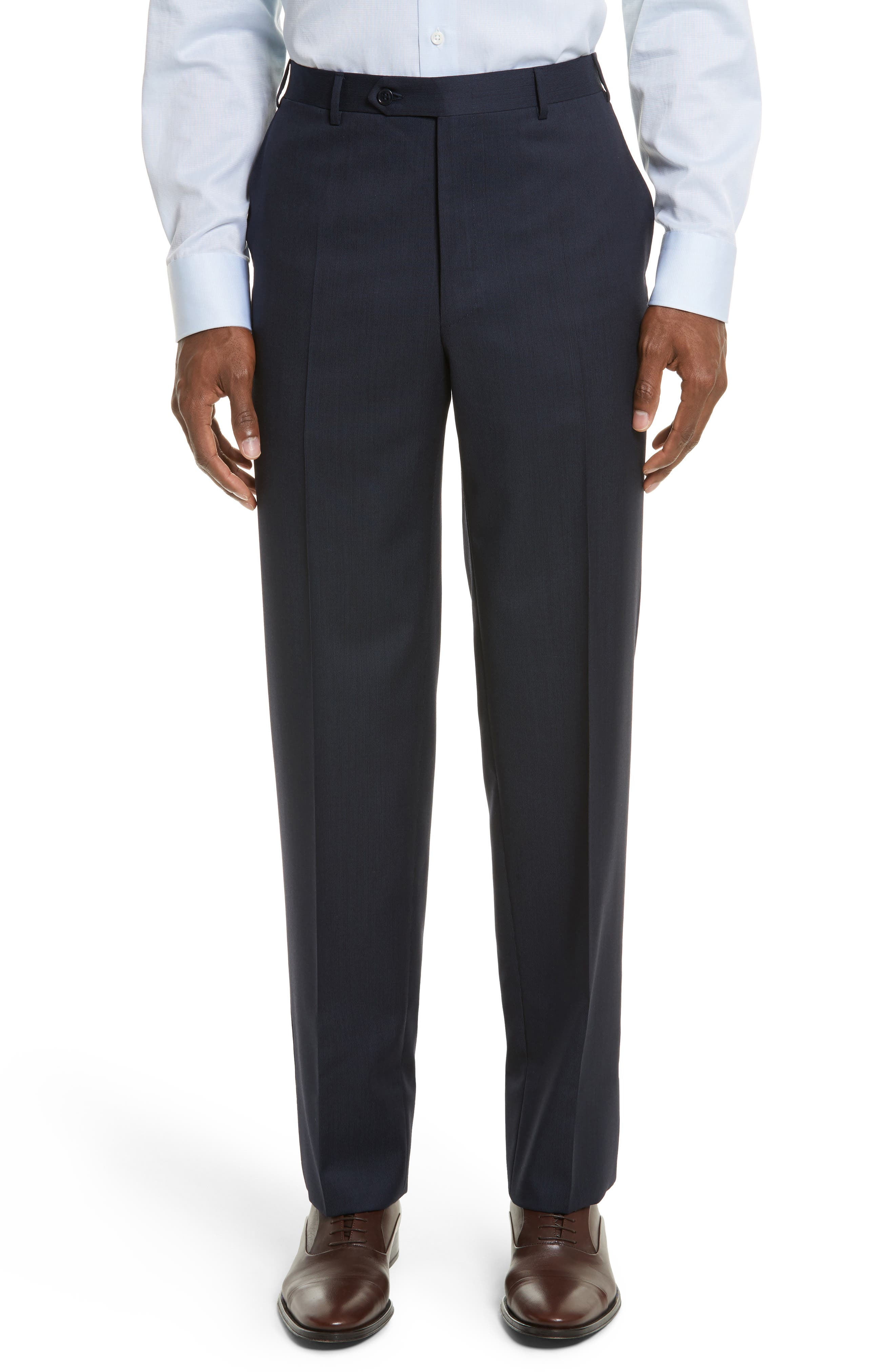 Flat Front Stripe Wool Trousers,                             Main thumbnail 4, color,