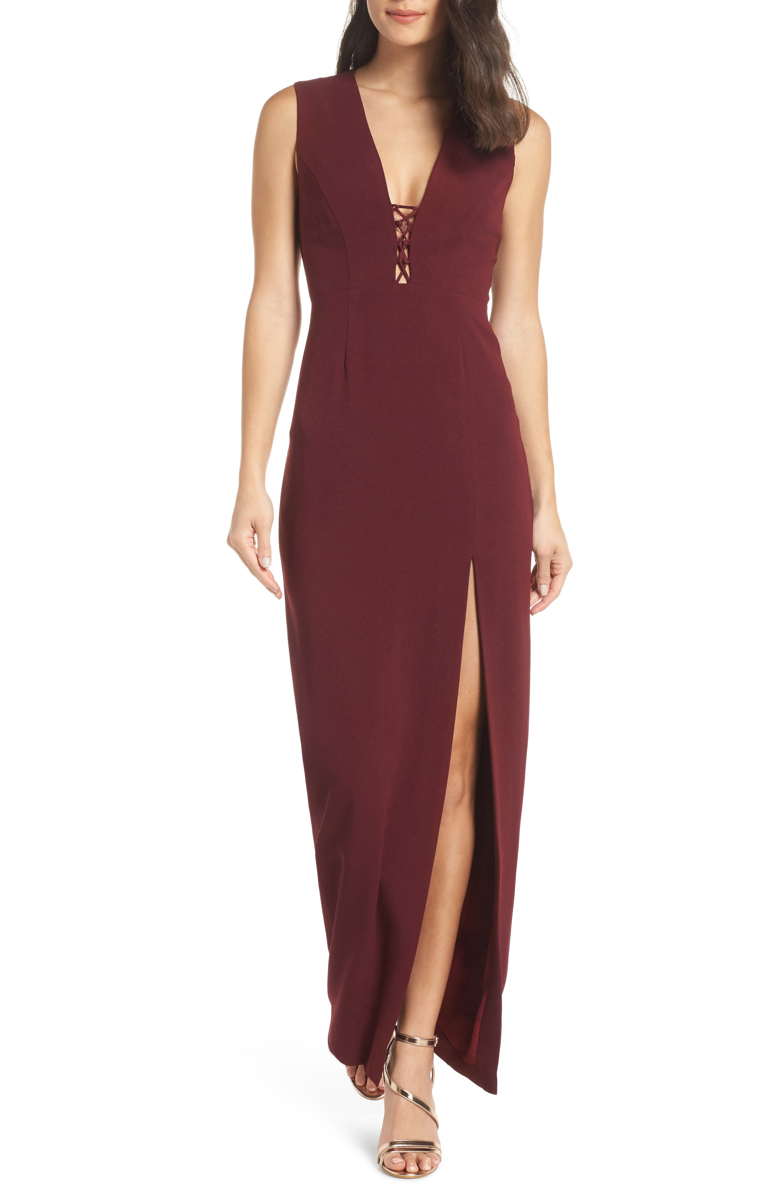 WAYF The Casey Plunge Neck Gown in Cabernet