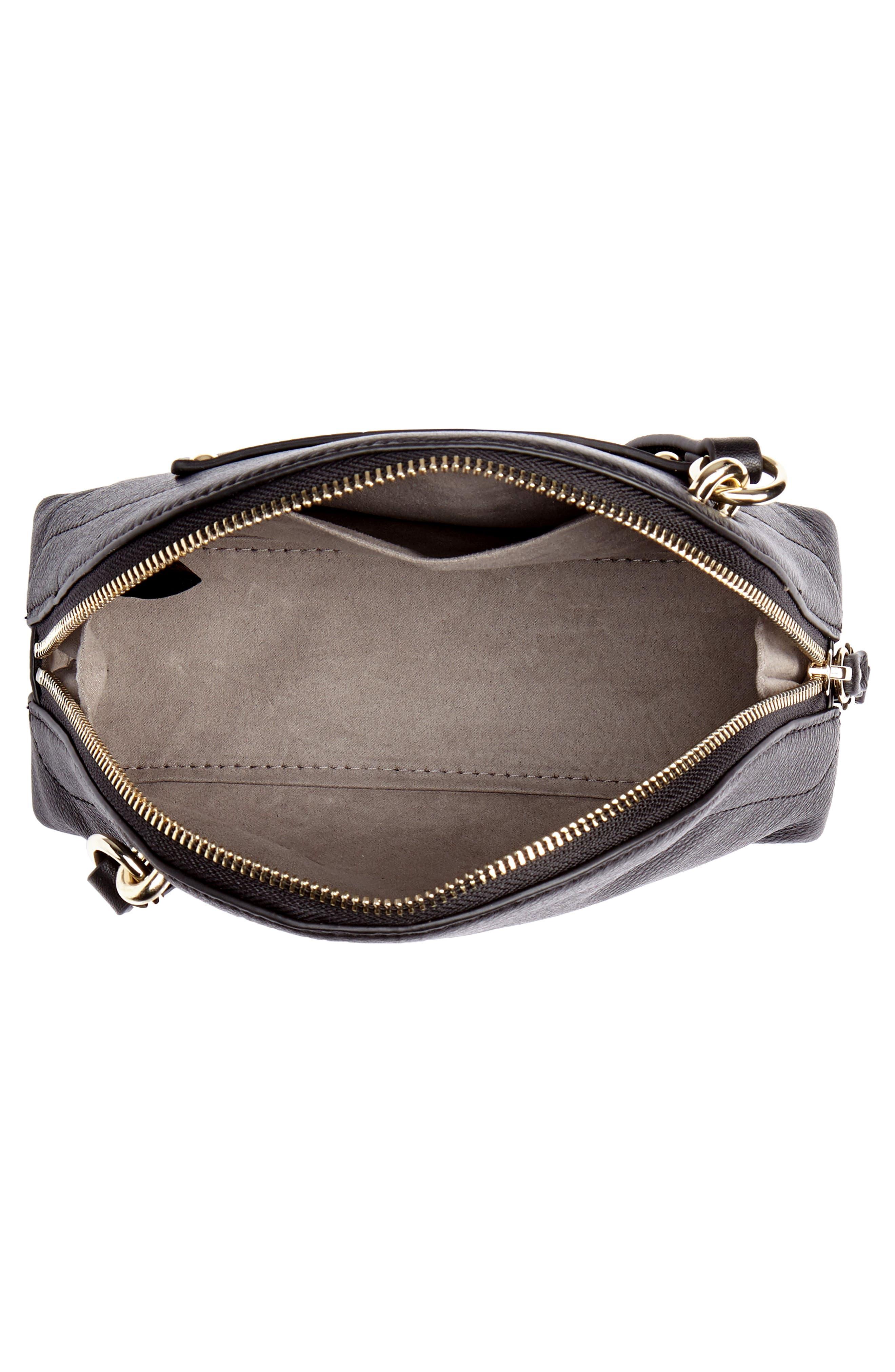 Katja Leather Half-Moon Crossbody Bag,                             Alternate thumbnail 4, color,                             001