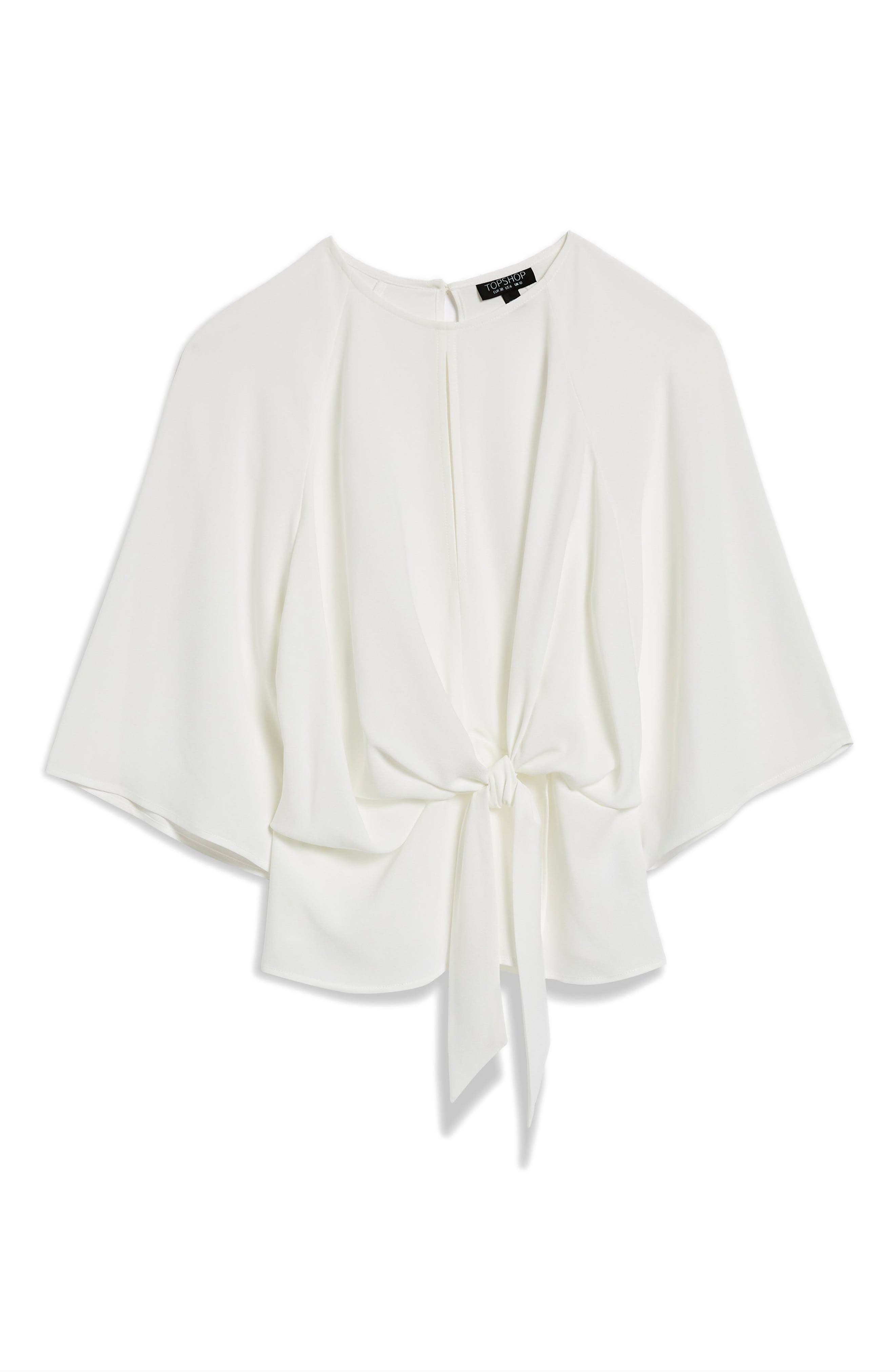 Slouchy Knot Front Blouse,                             Alternate thumbnail 3, color,                             IVORY
