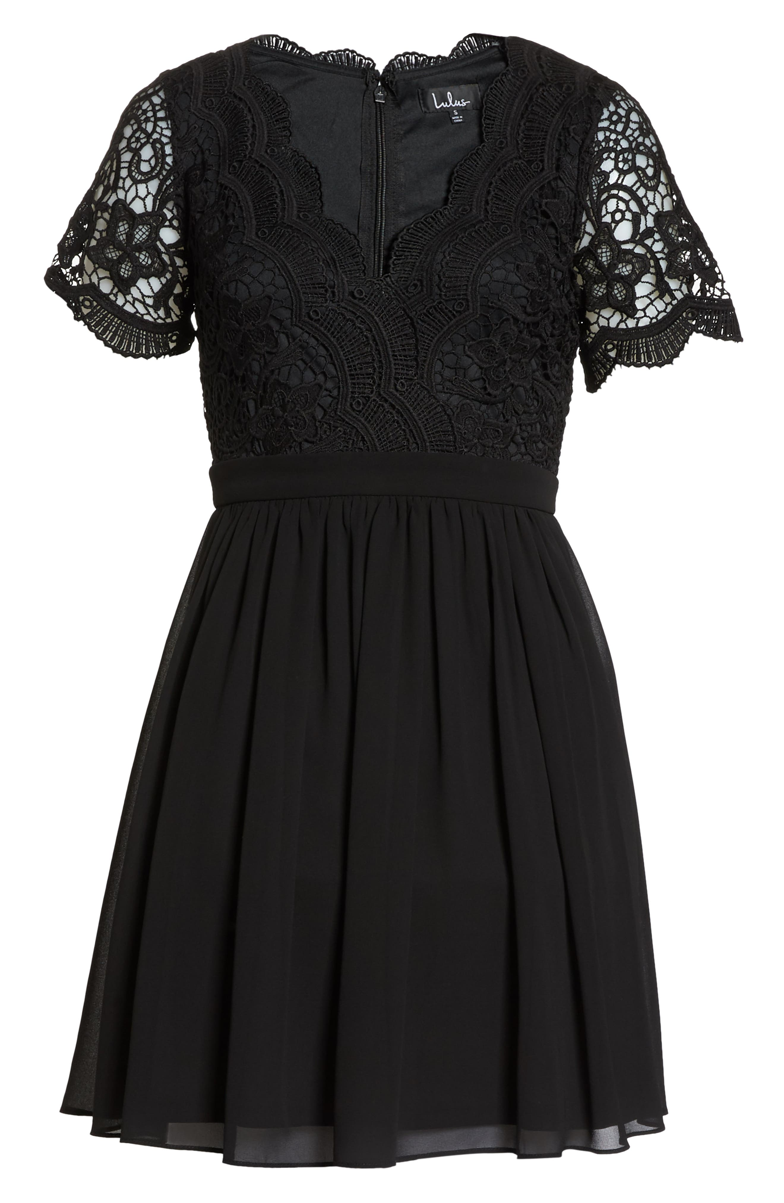Angel in Disguise Lace & Chiffon Party Dress,                             Alternate thumbnail 7, color,                             BLACK