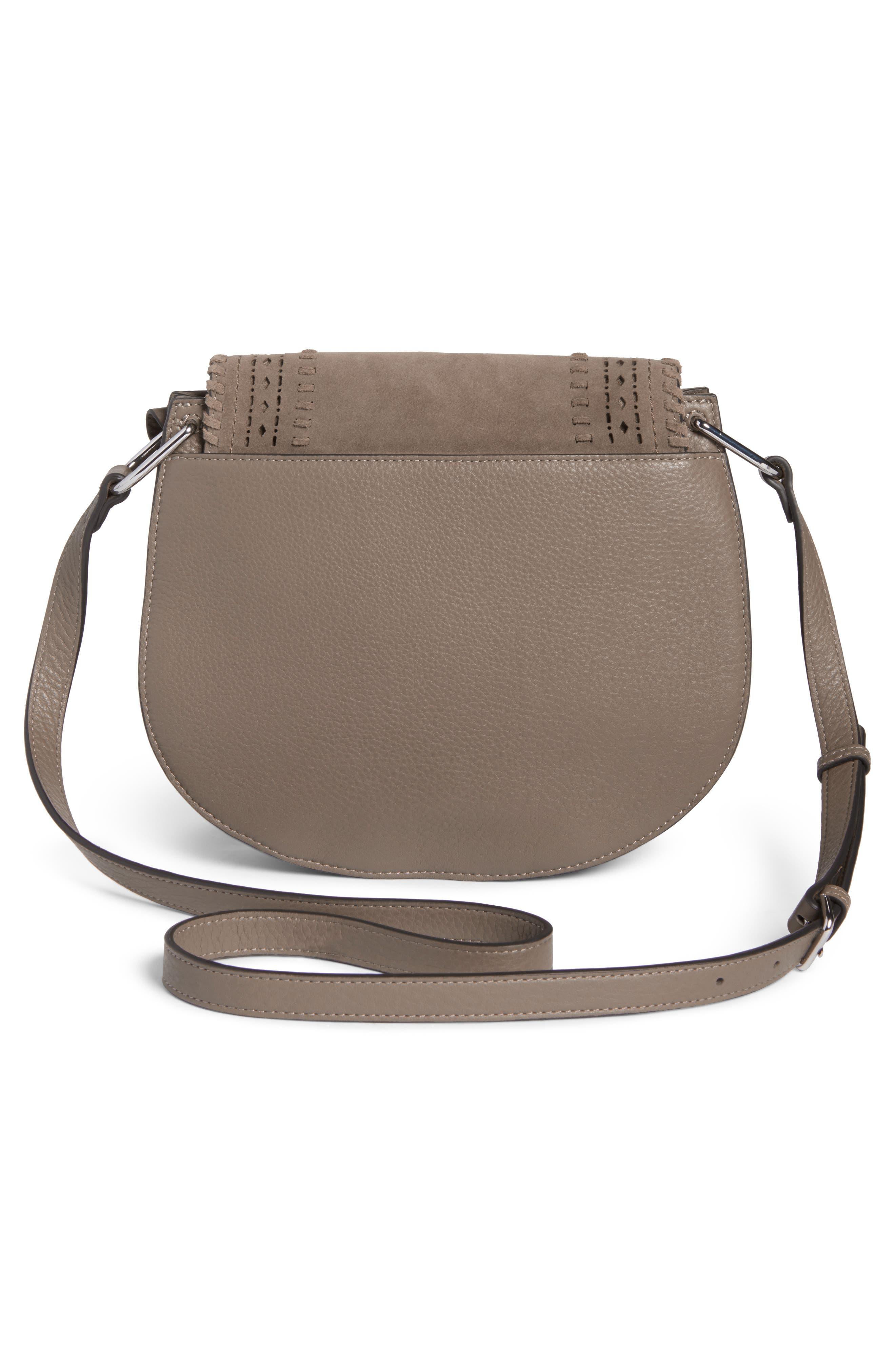 Kirie Suede & Leather Crossbody Saddle Bag,                             Alternate thumbnail 3, color,                             020