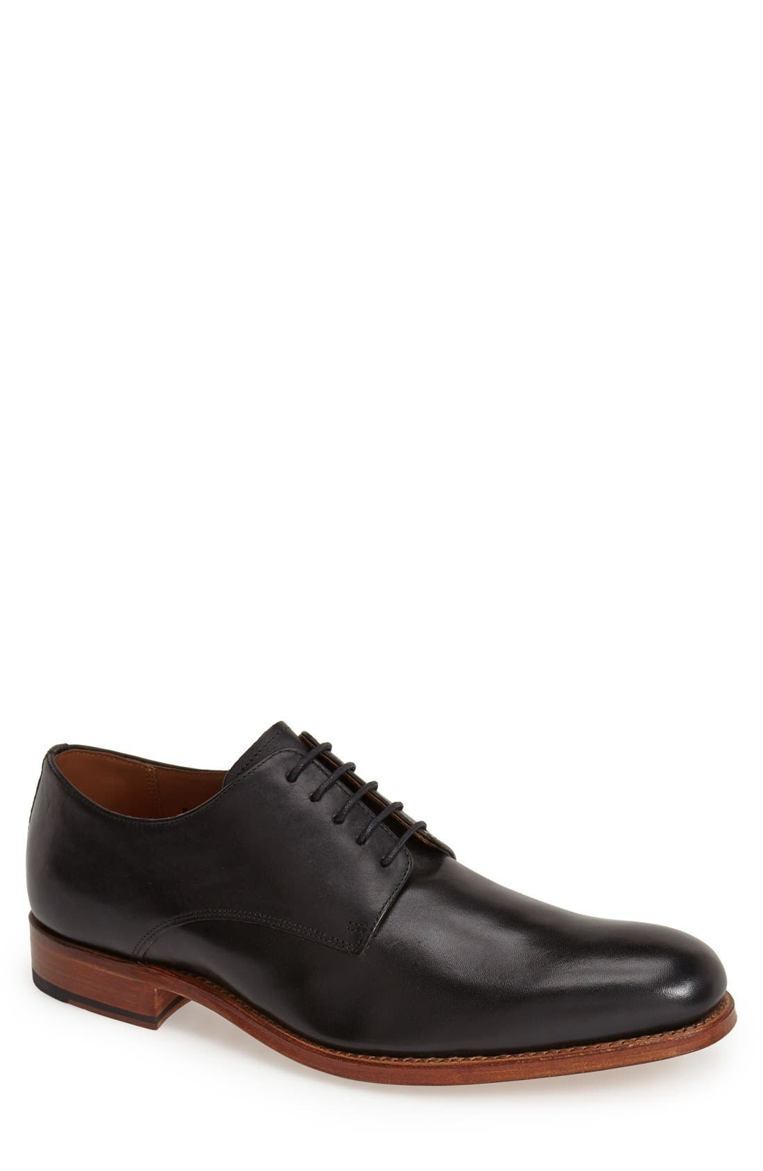 GRENSON,                             'Toby' Leather Plain Toe Derby,                             Main thumbnail 1, color,                             001